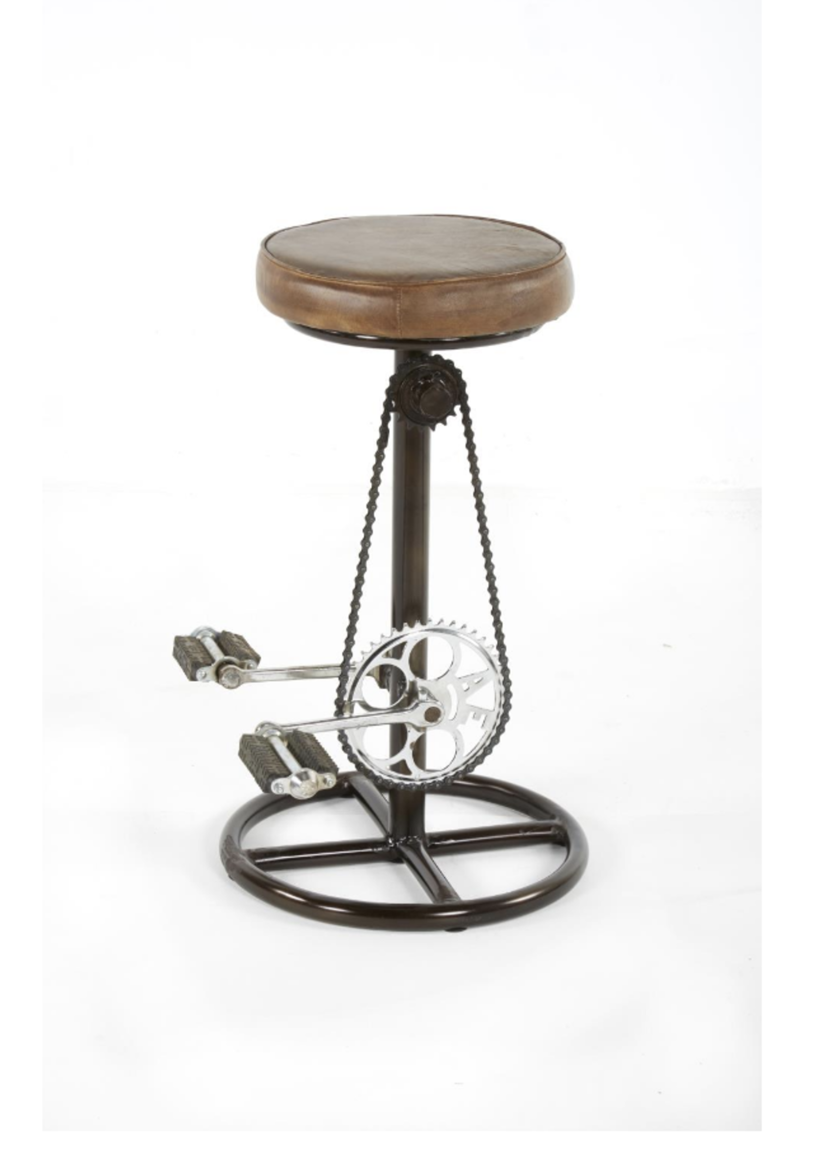 """New Spencer 26""""H Bike Stool Brown Leather/ Iron NST 2510165"""