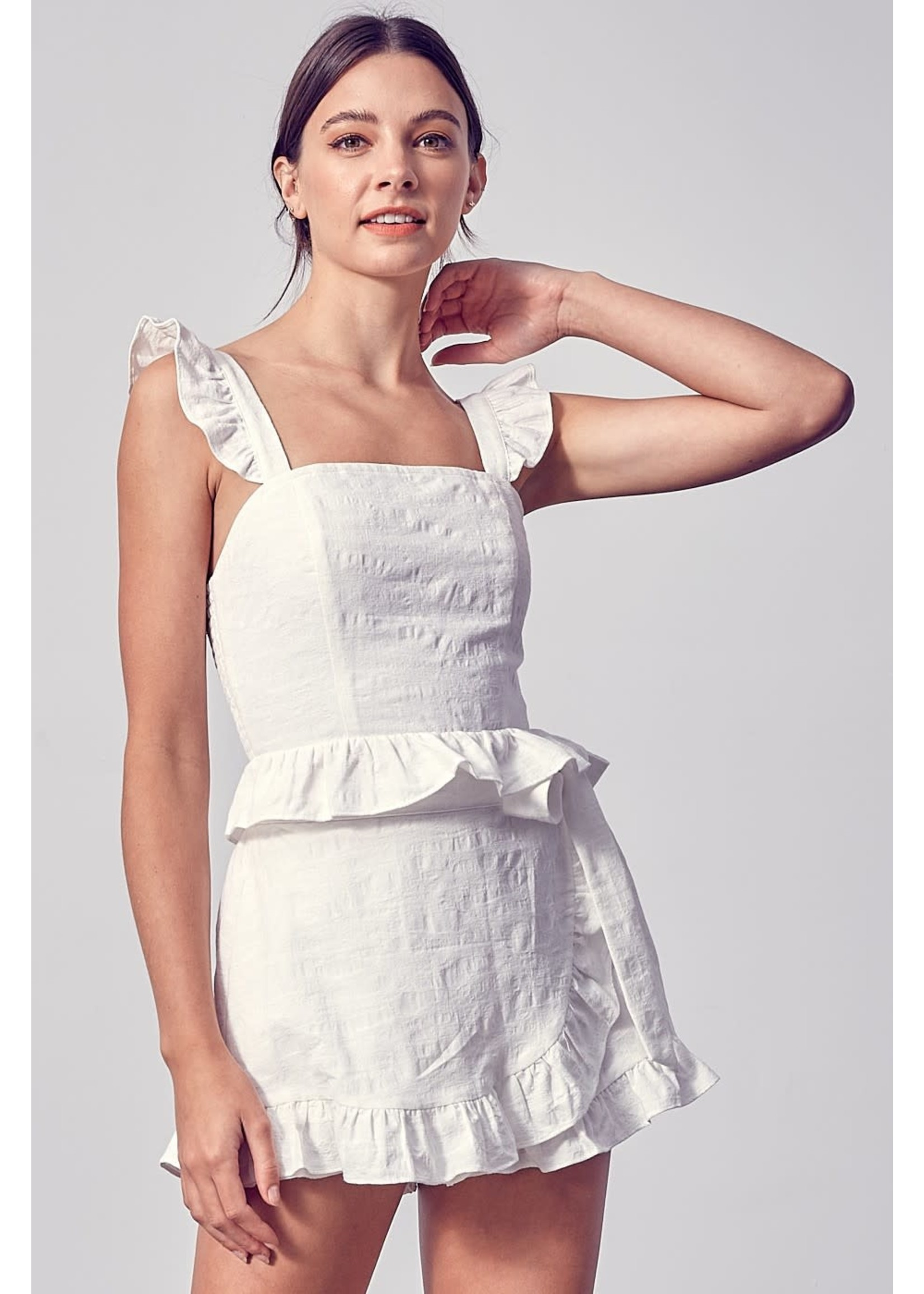 Do+BE Square Neck Ruffled Tank Top - Y19956