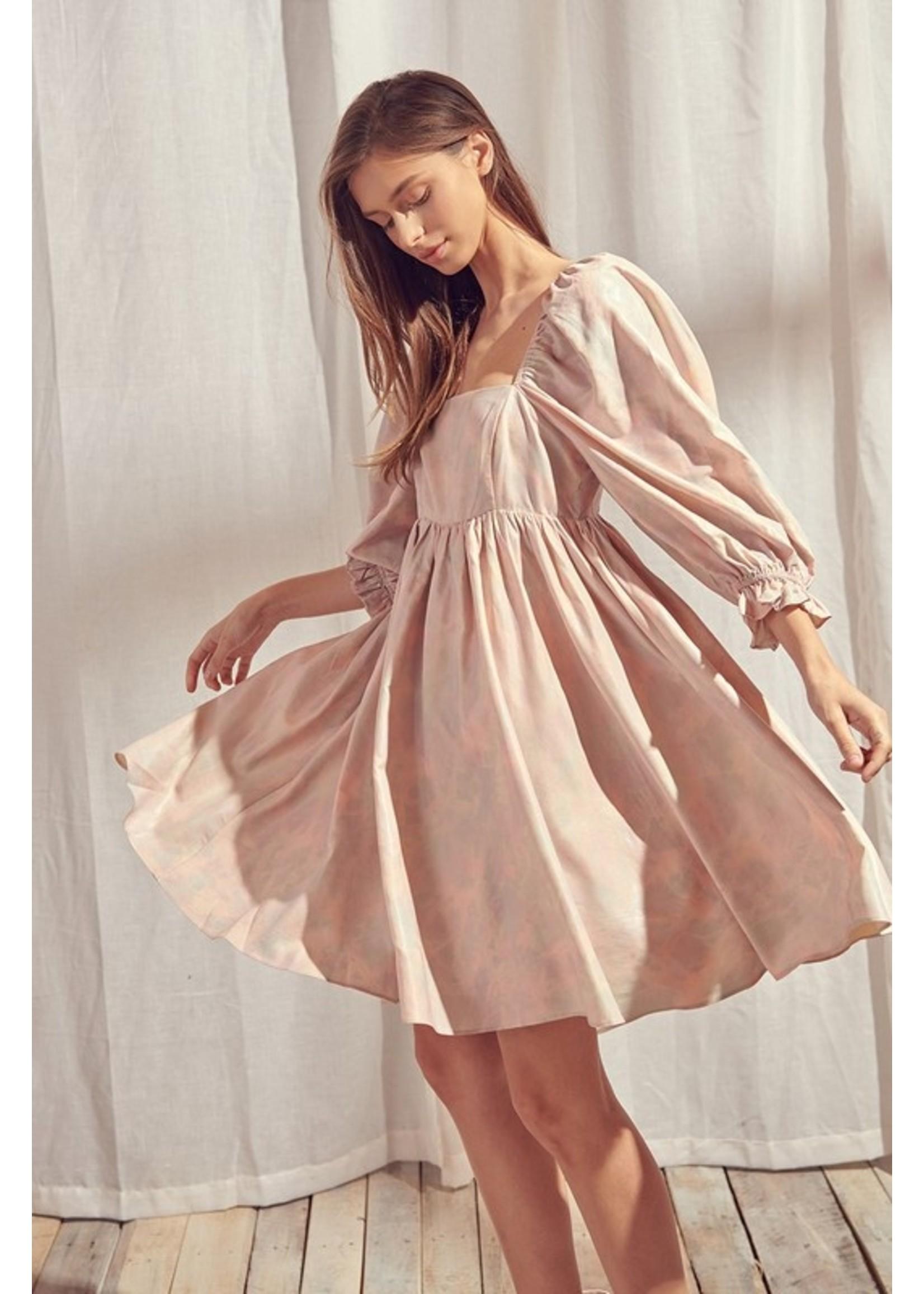 Storia Puffy Sleeve Babydoll Dress - JD2443K