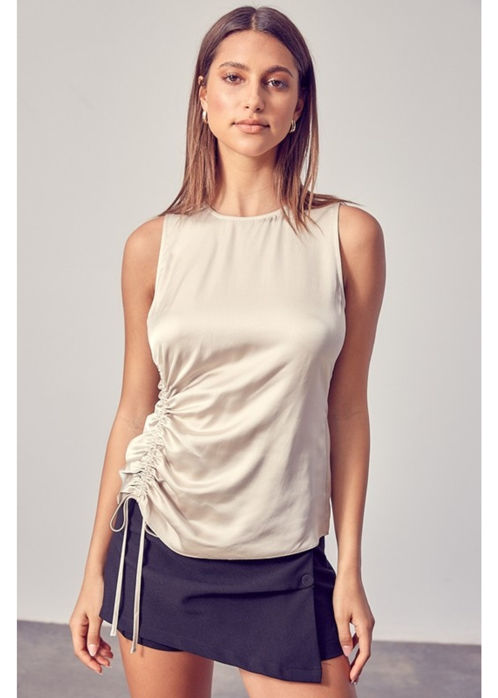 Do+BE Side Ruched Sleeveless Top - Y20091
