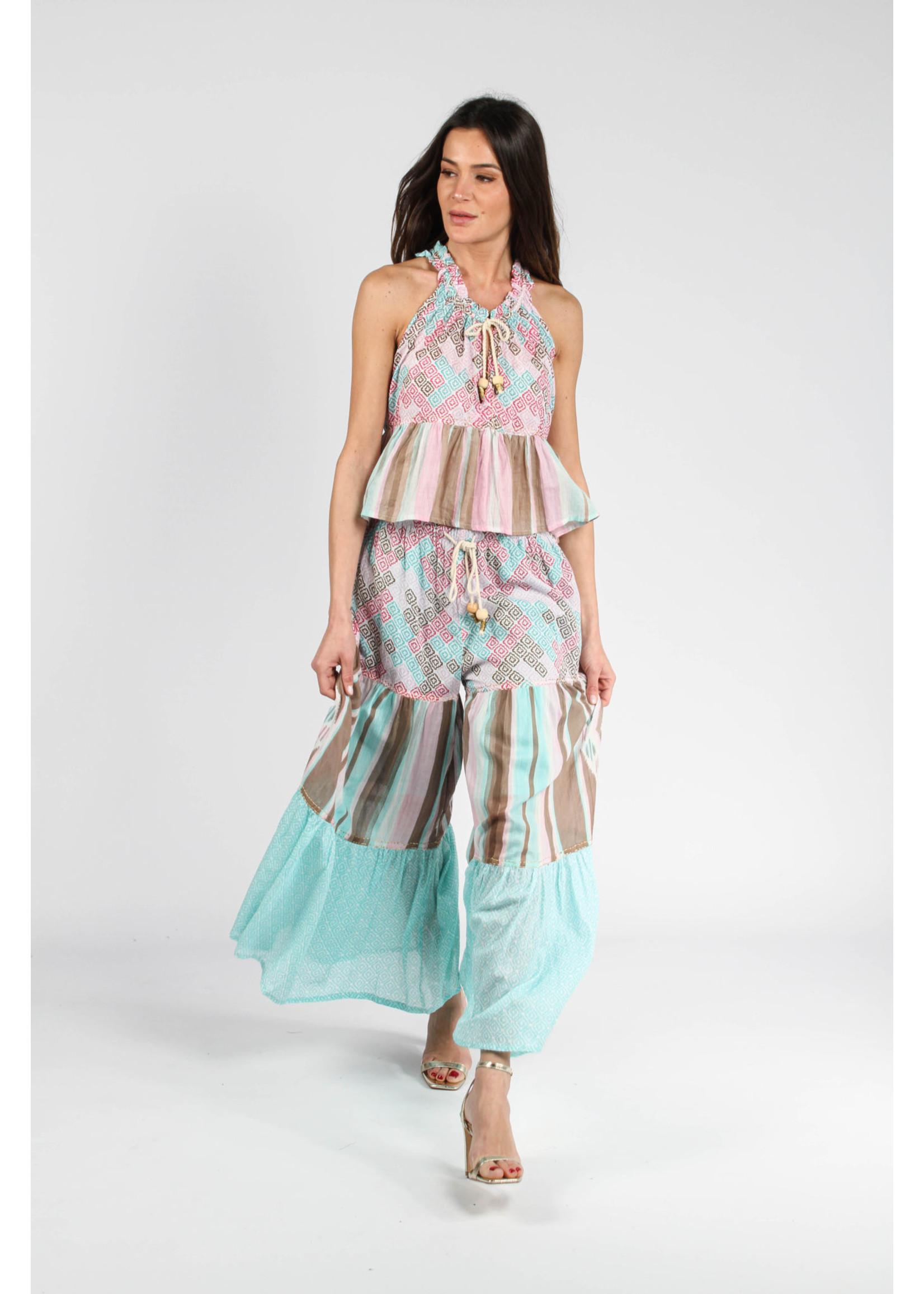 Barok Paris Sleeveless Printed Beaded Top - 21090