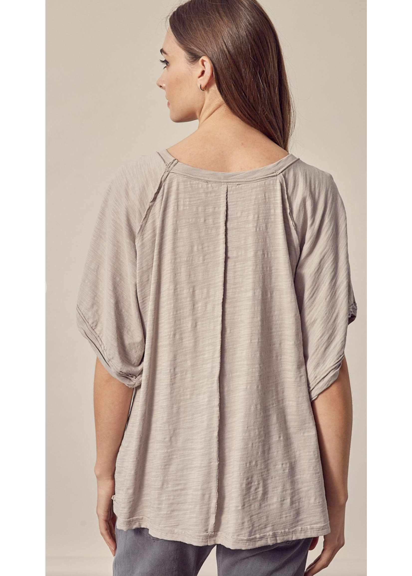 Mustard Seed Deep Round Neck Pullover Top - S18335