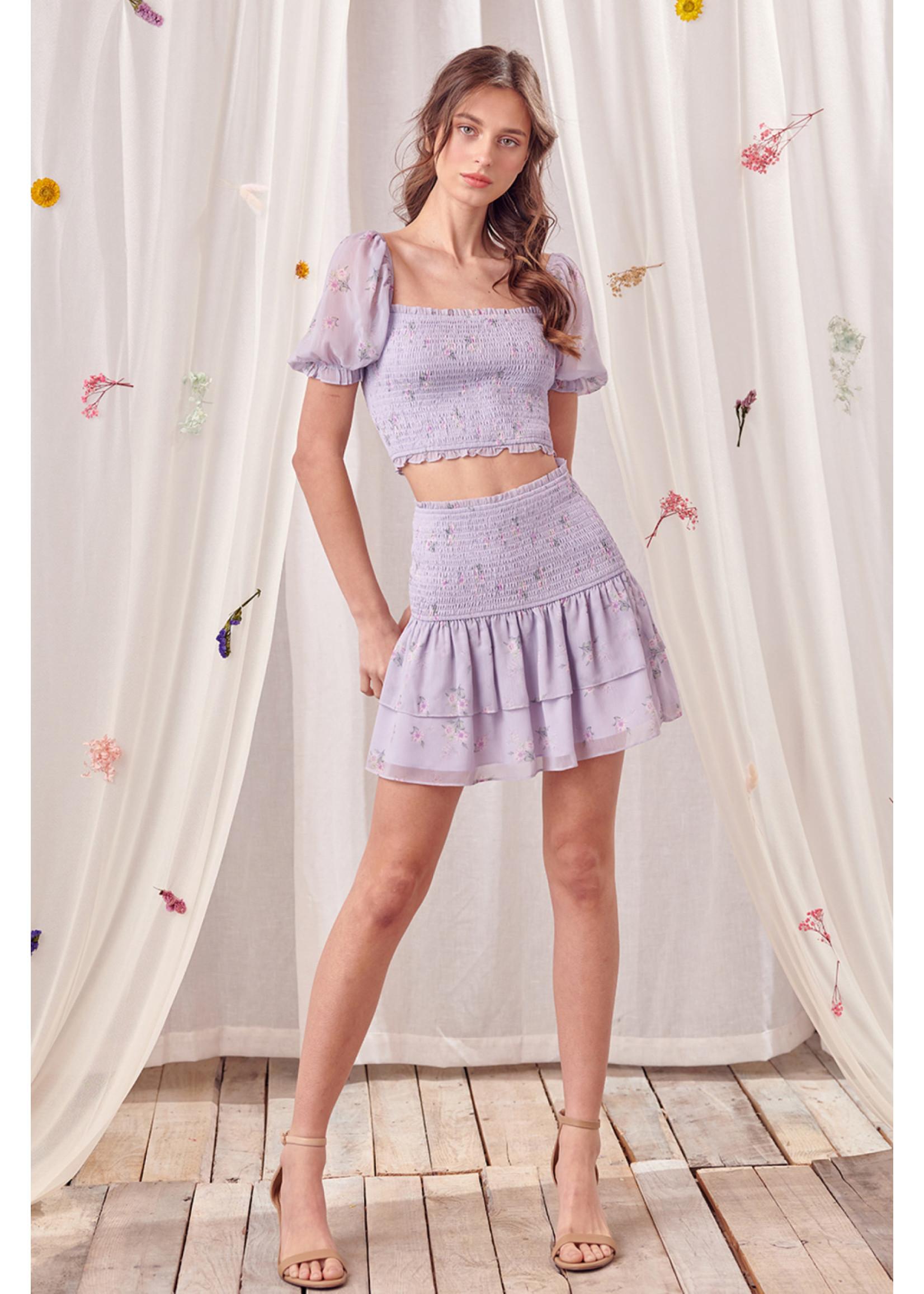 Storia Bouquet Floral Pastel Mini Skirt - JS3250B