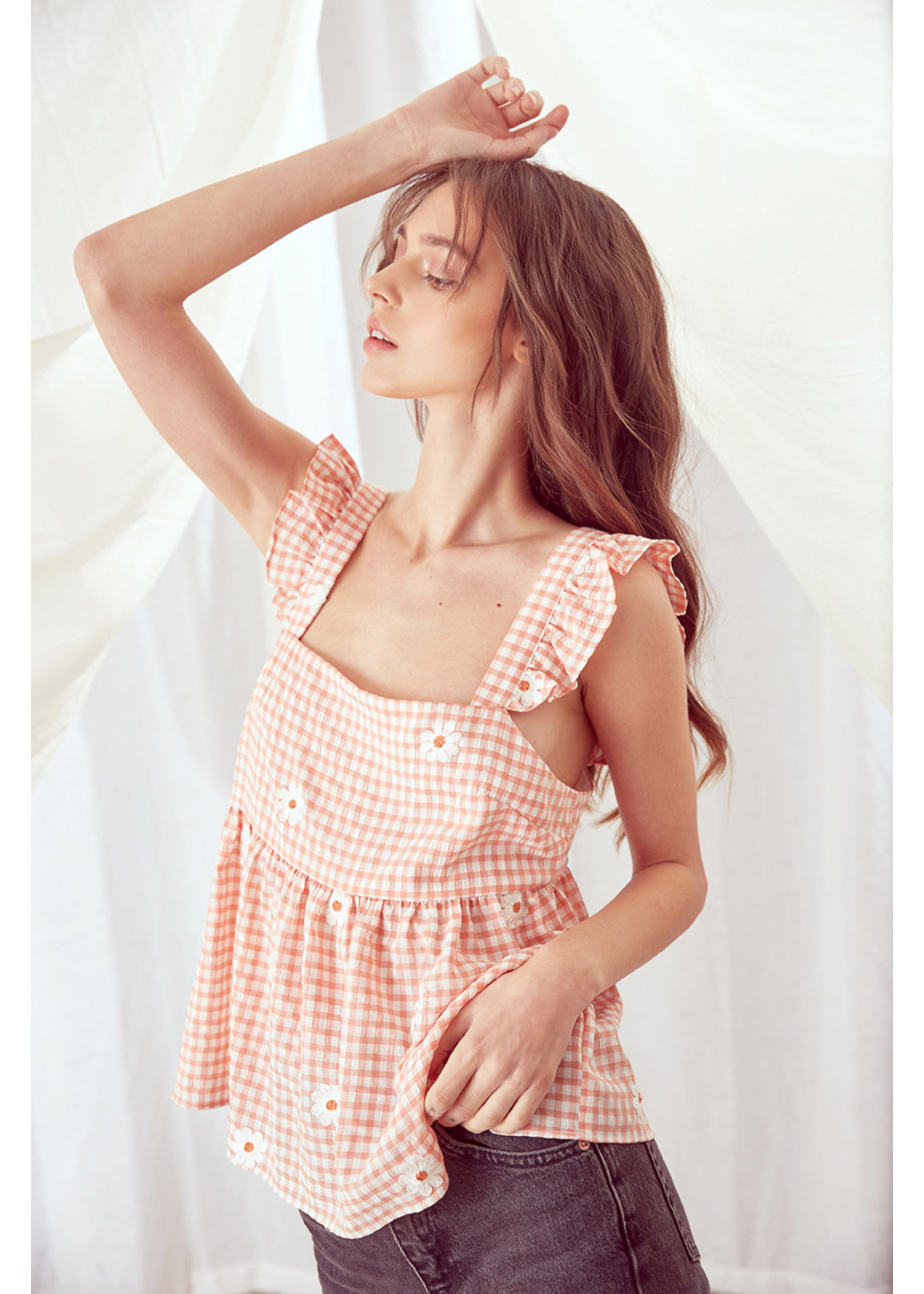 Storia Daisy and Gingham Print Babydoll Top - JT3247