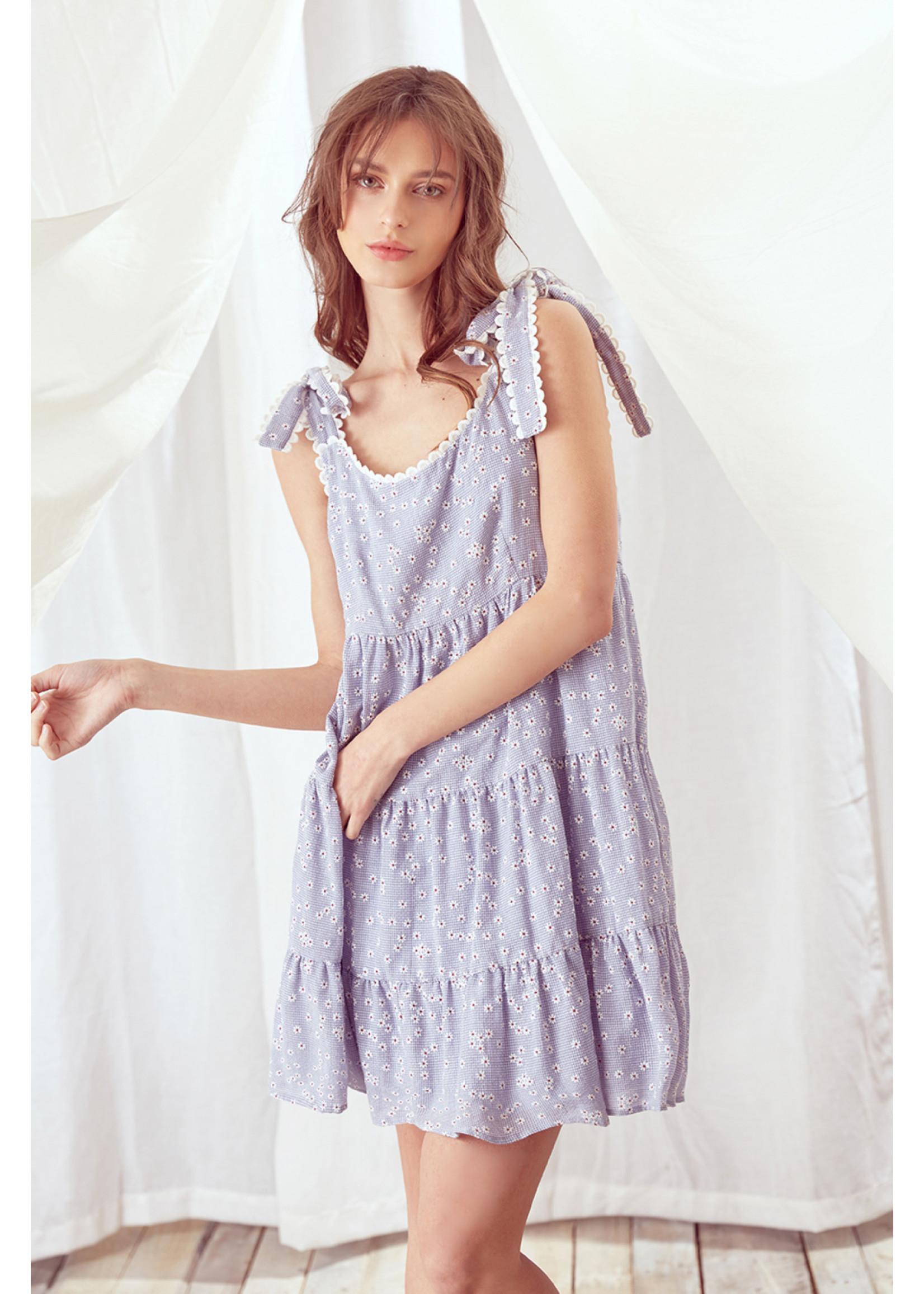Storia Daisy Print Scalloped Mini Dress - JD3213