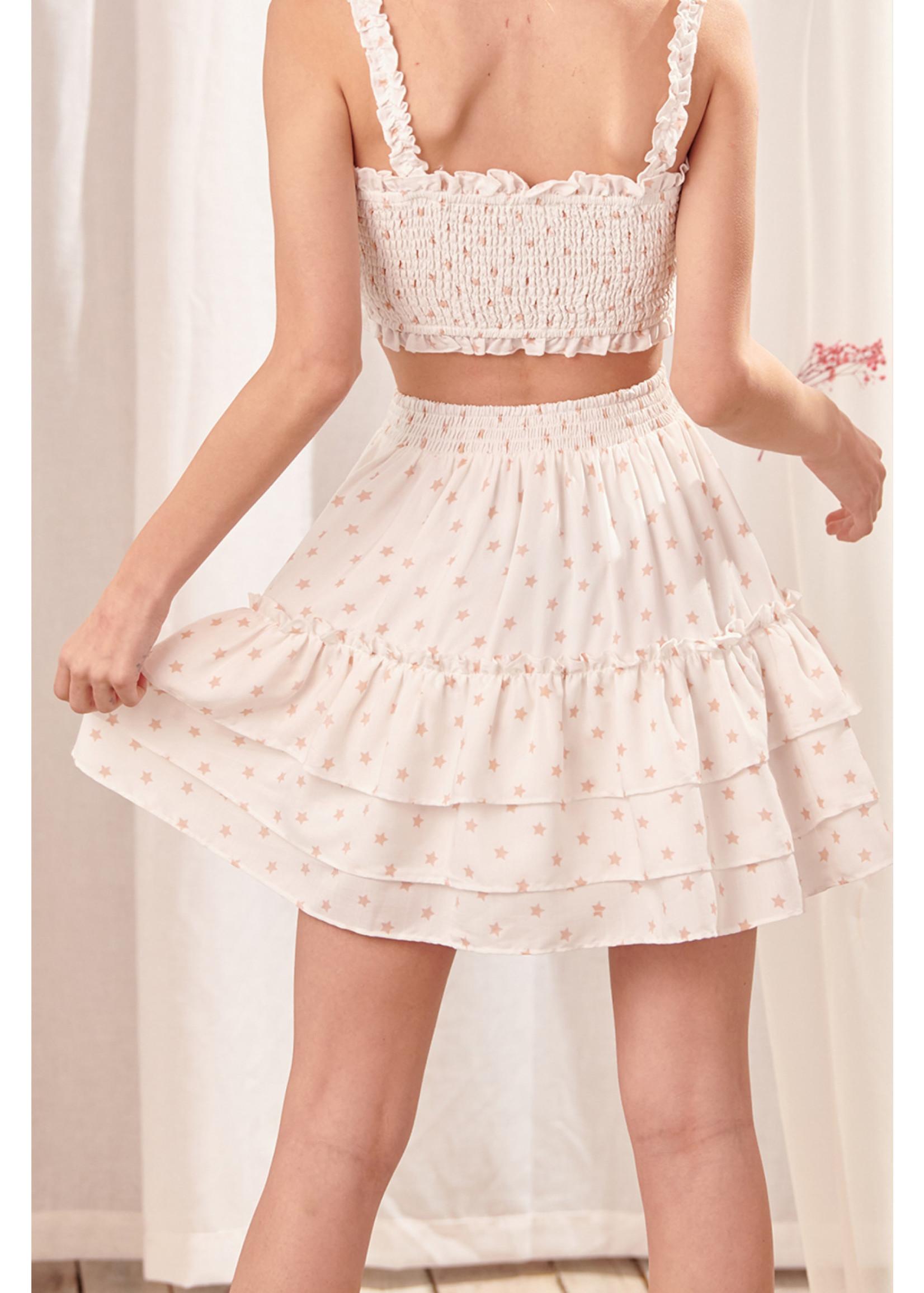Storia Star Print Mini Skirt - JS3174