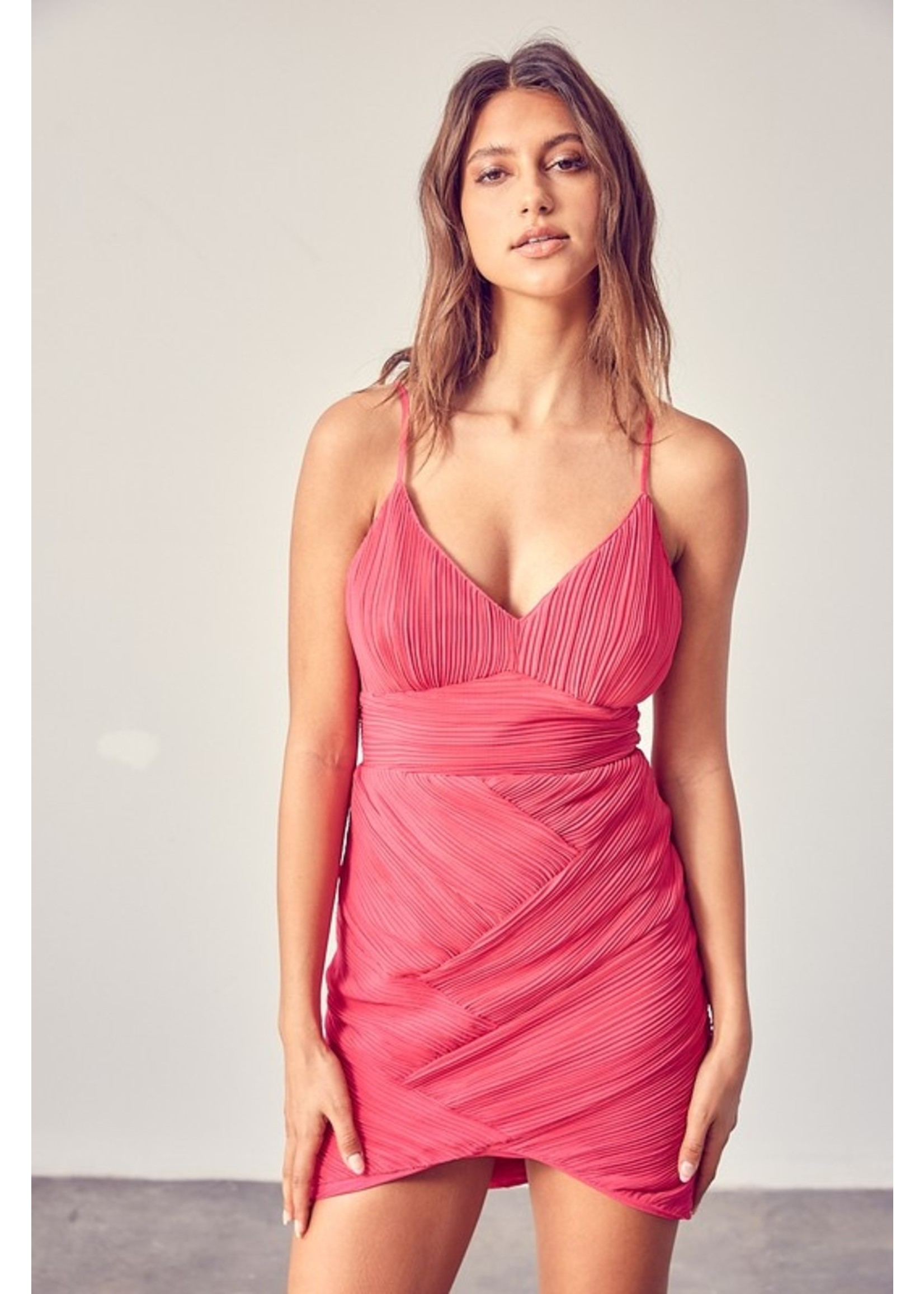 DO + BE Strappy Pleated Bodycon Dress - GY0901
