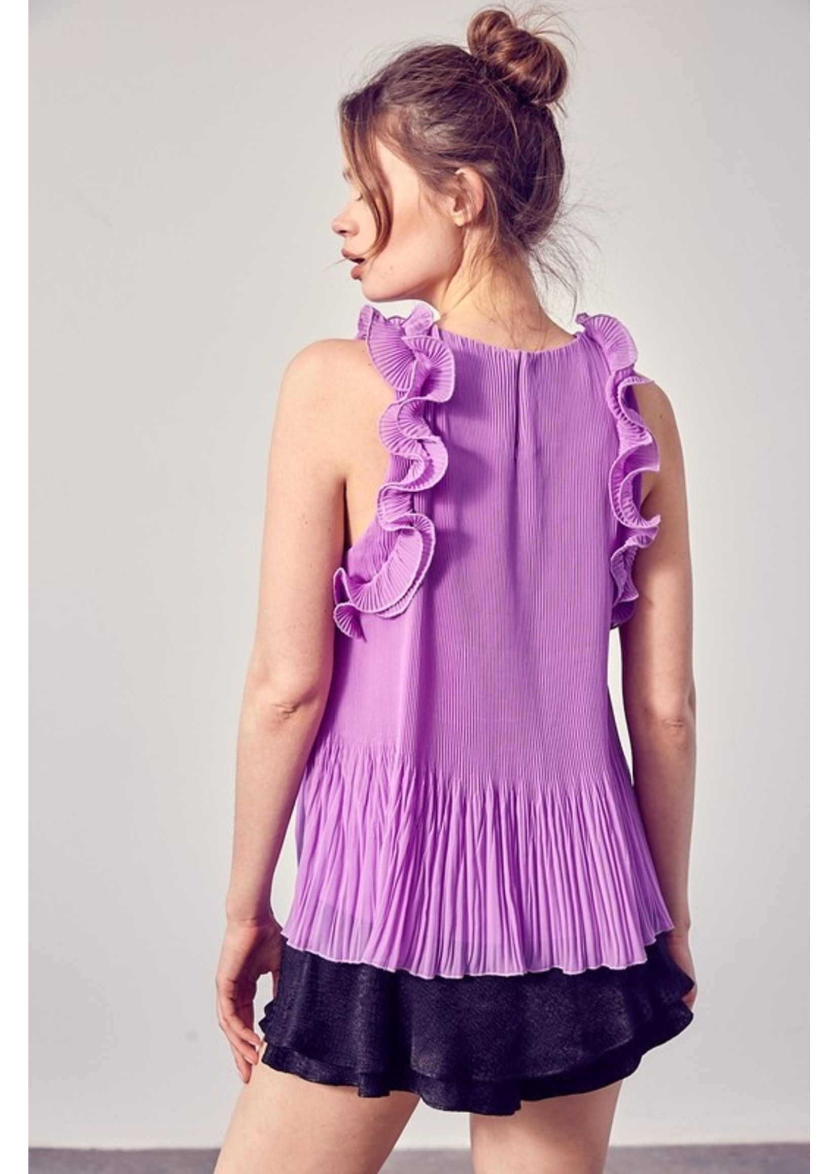 DO + BE Pleated Ruffled Detail Crop - Y19836
