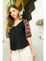 THML Embroidered Puffy Sleeve Top - THS0923-1