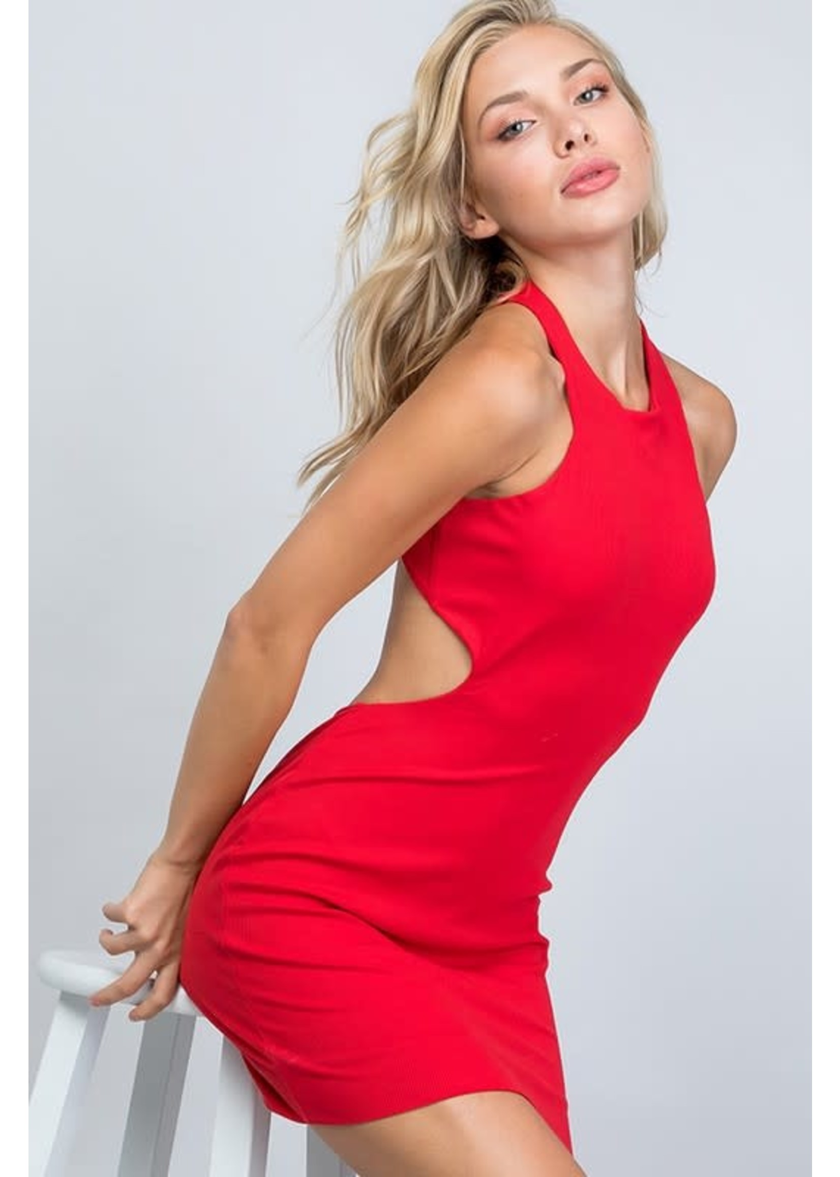 Illa Illa Ribbed Double Layer Cut-Out Dress - D1829