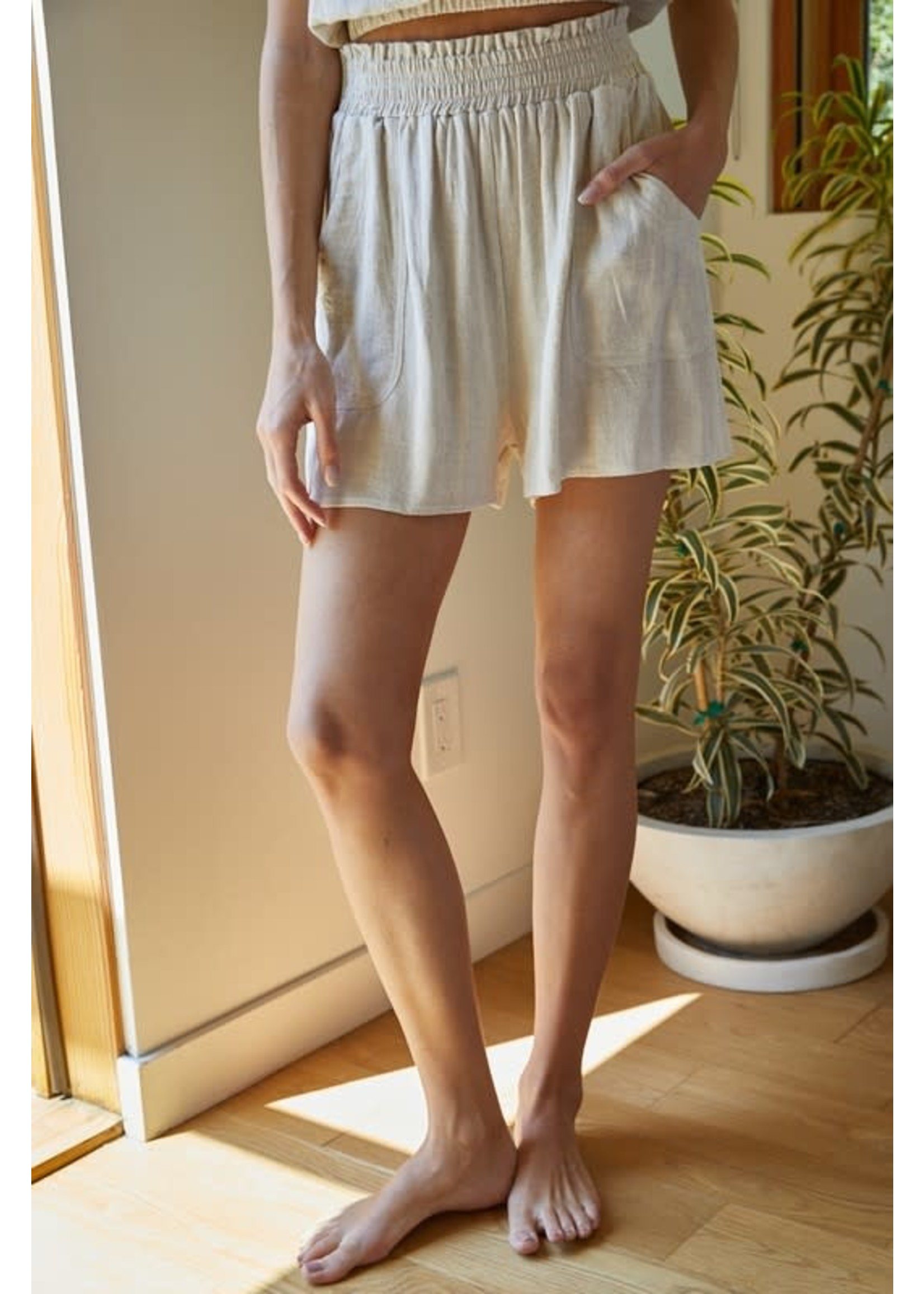 By Together Woven Cotton Linen Shorts - L4875