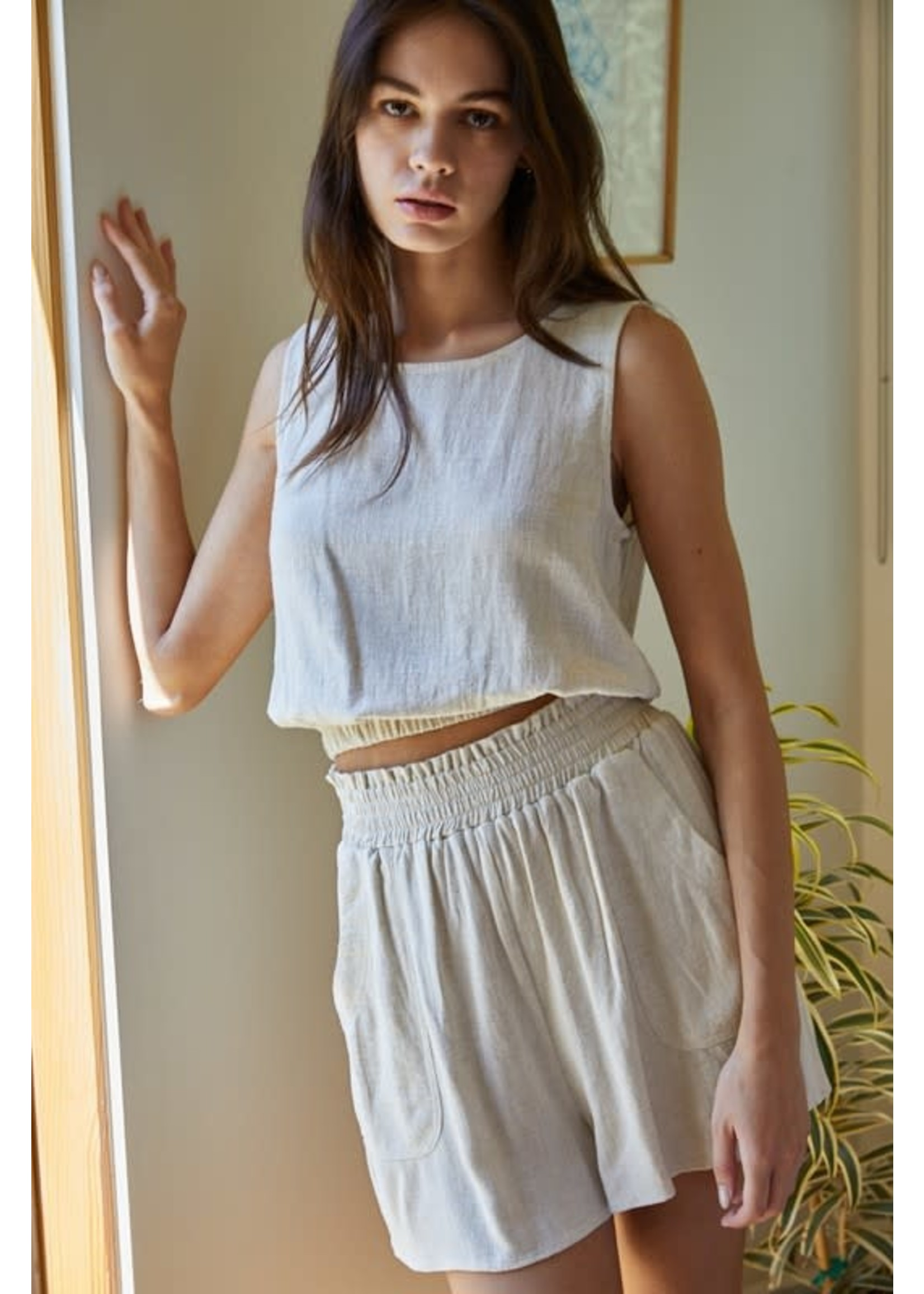 By Together Woven Cotton Linen Sleeveless Top - L4886