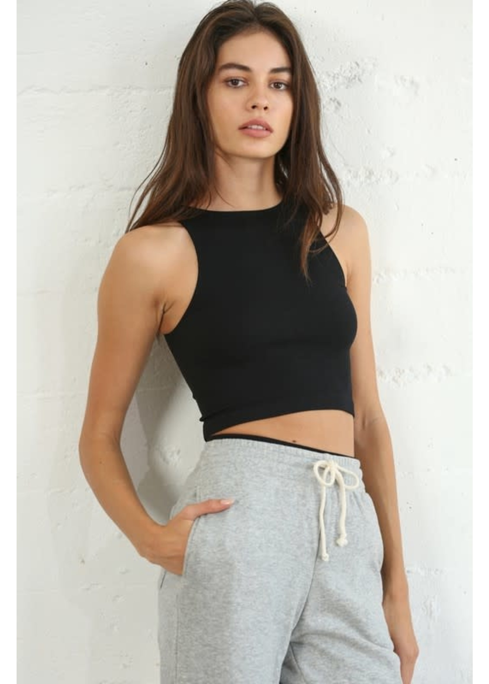 By Together Seamless Ribbed Sleeveless Crop Top - S1021