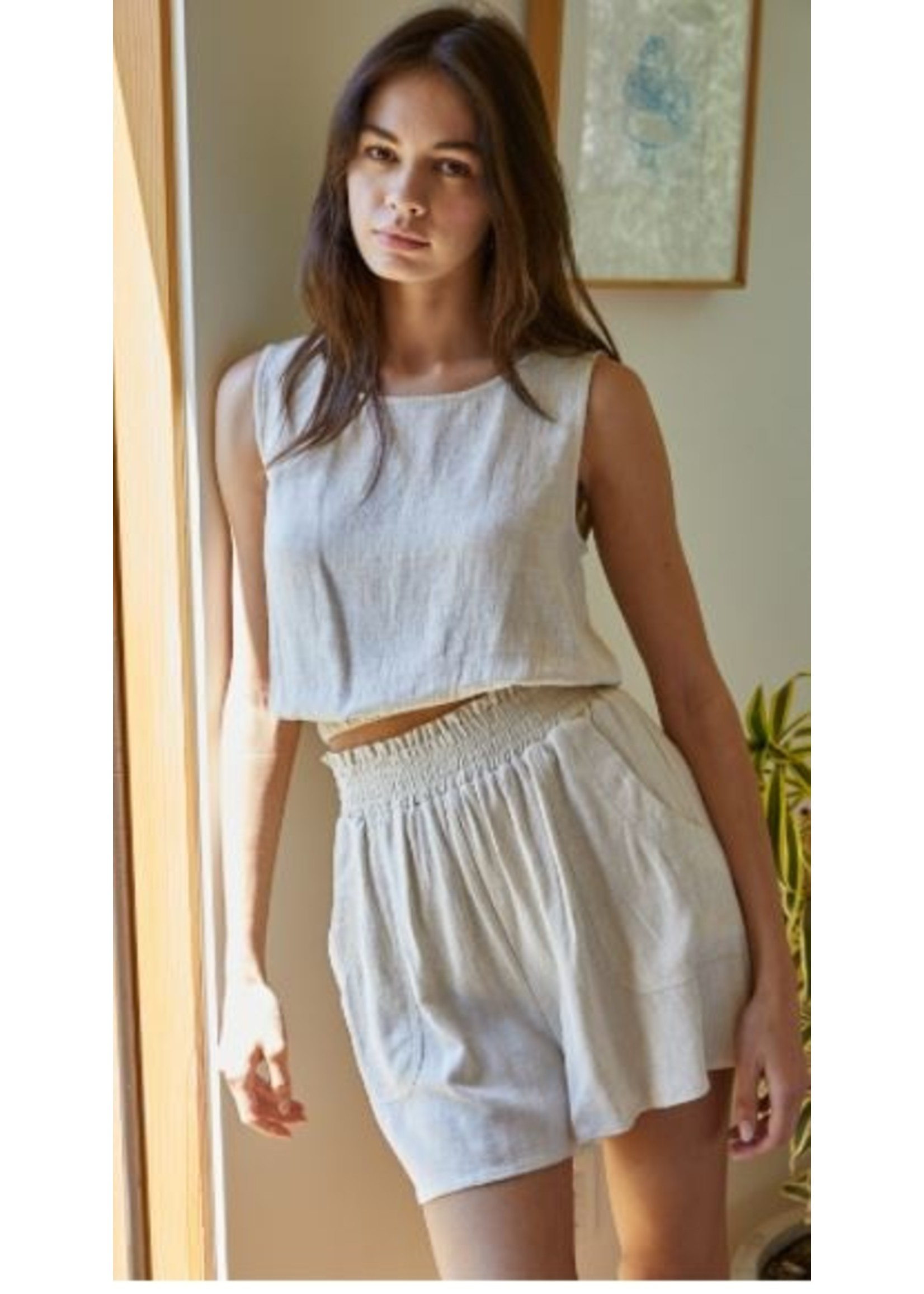 By Together Woven Linen Shorts - L4875