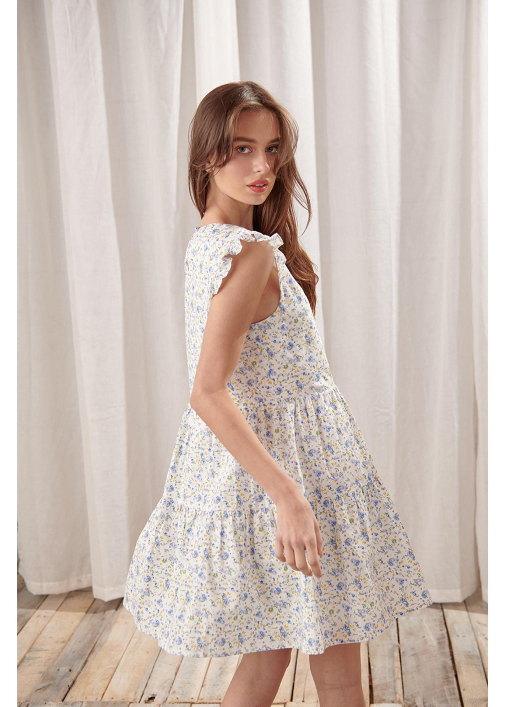Storia Floral Capped Sleeve Mini Dress - BD2160