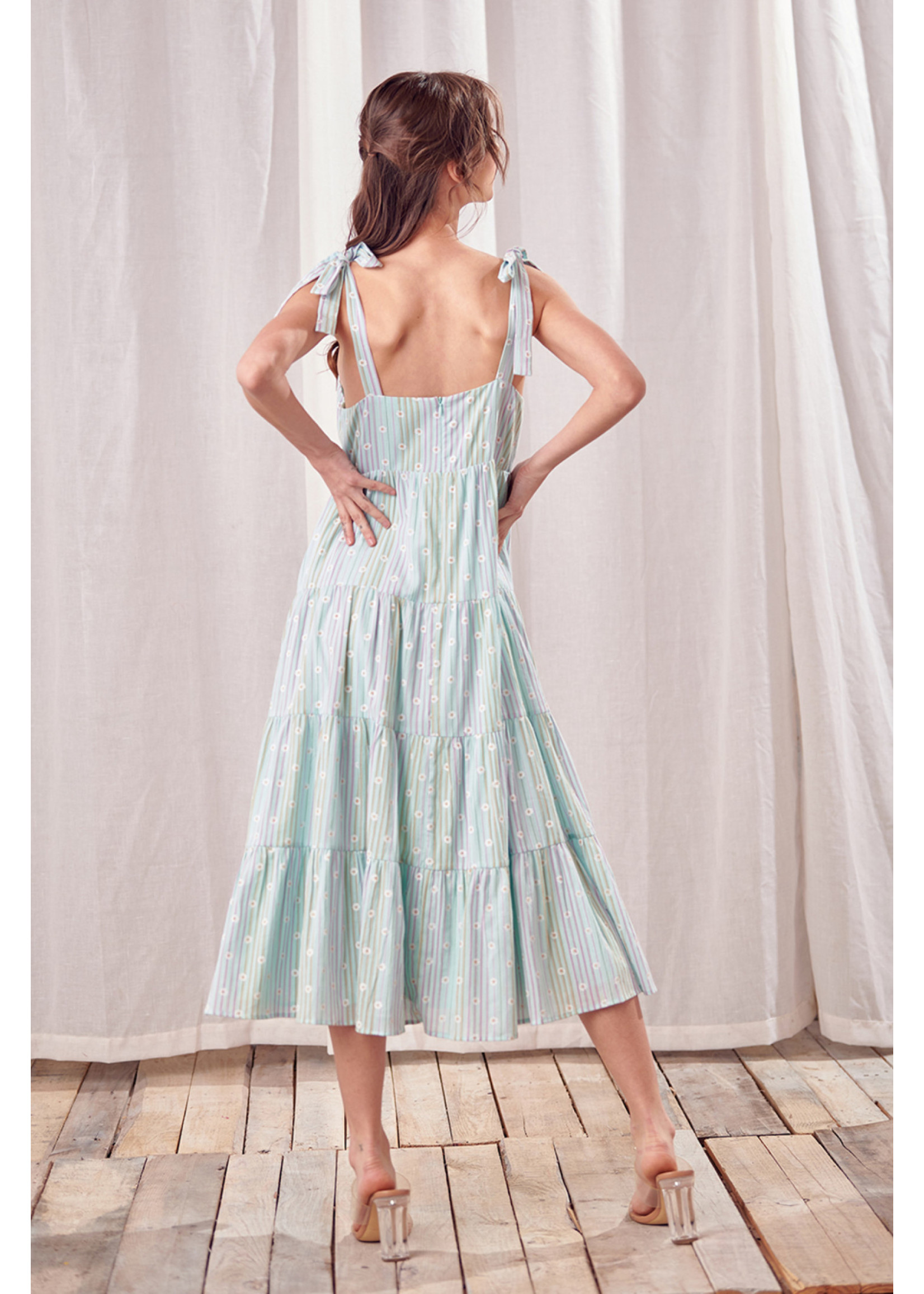 Storia Daisy Print and Striped Midi Dress - JD3065A