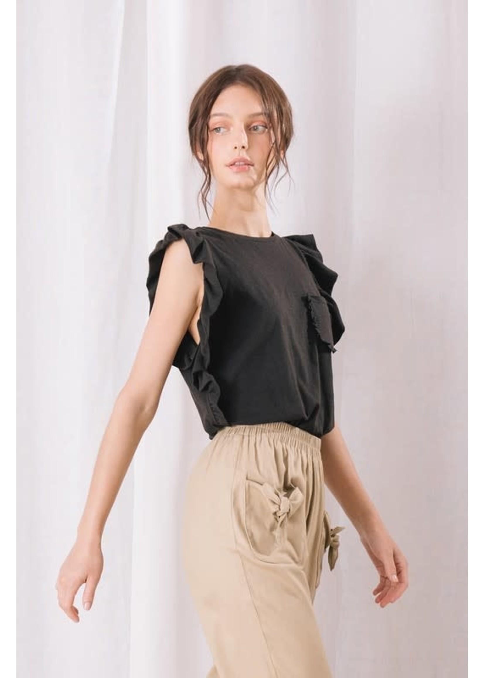 Storia Monochromatic Ruffled Sleeveless T-Shirt - LT1003