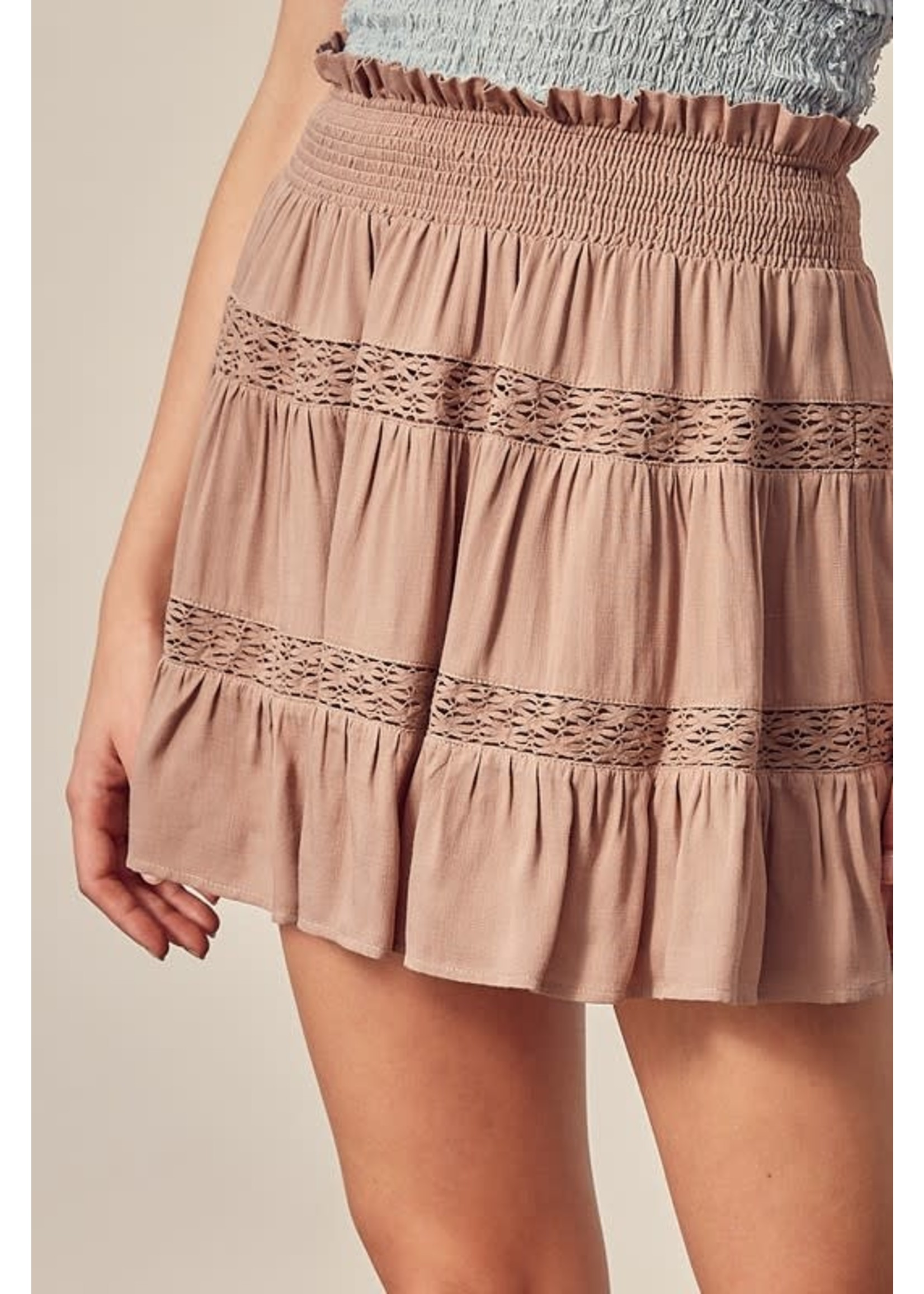 Mustard Seed Lace Detail Skirt - S18101
