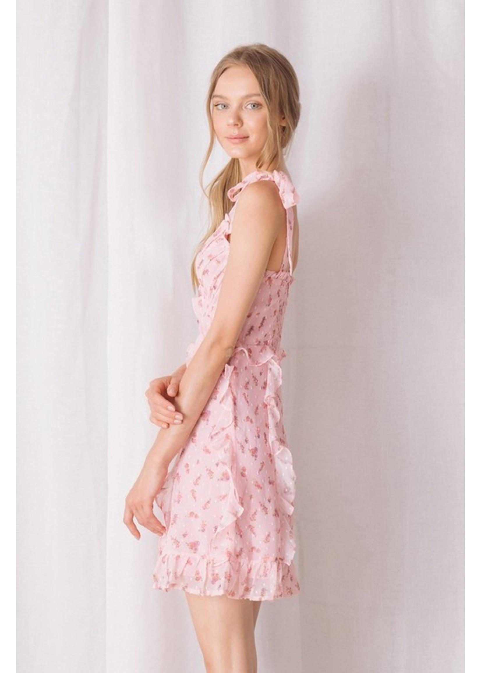 Storia Floral and Swiss Dot Ruffled Mini Dress - BD1170A