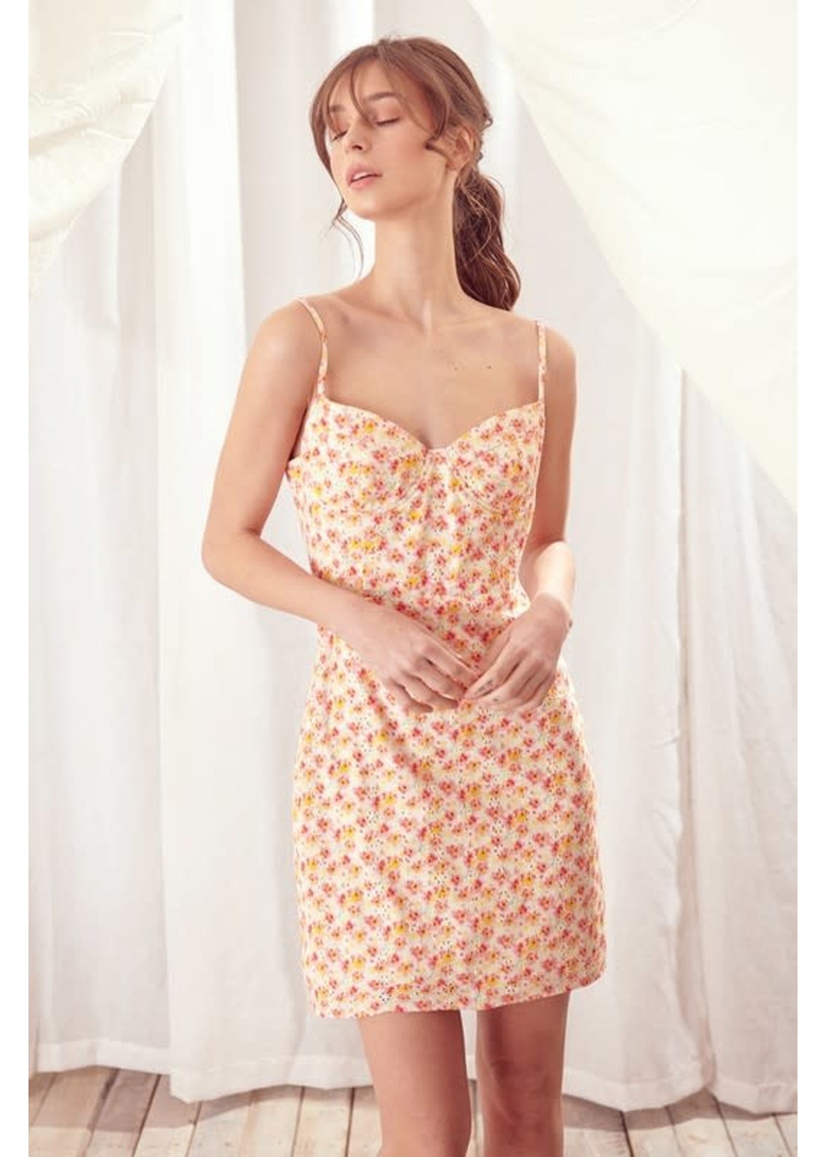 Storia Floral and Eyelet Print Mini Dress - SD1484A