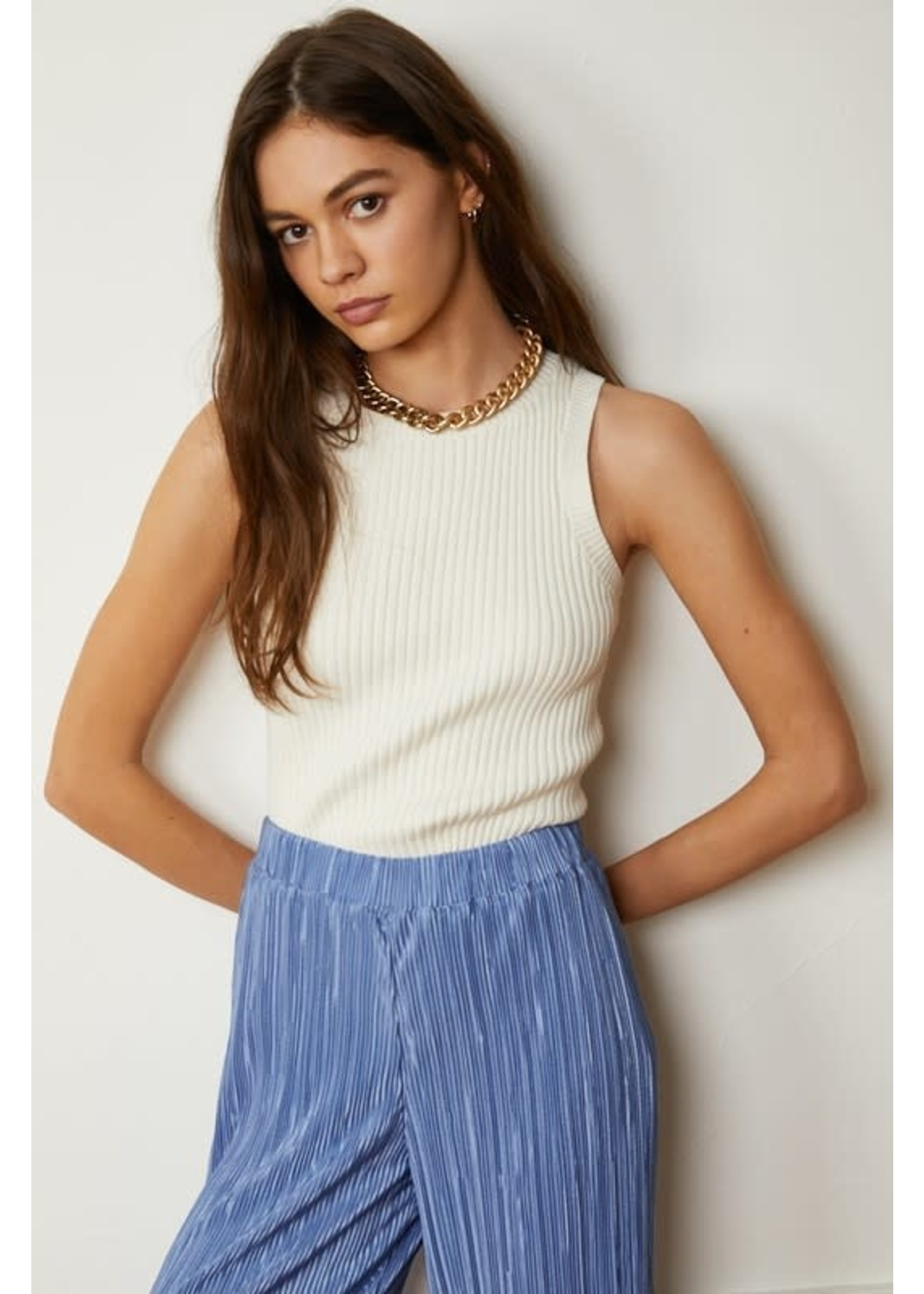 By Together Knitted Sweater Sleeveless Crop Top - L4641