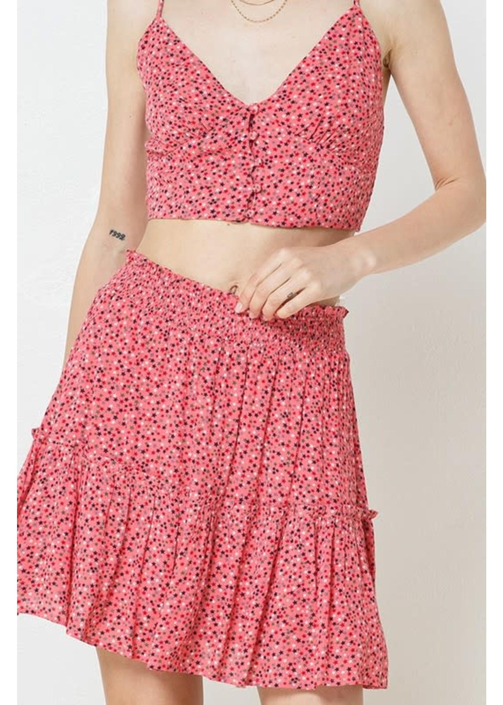 Illa Illa Star Print Crop Top and Ruffled Skirt SET - IM6169B