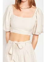 Emory Park Square Neck Bubble Sleeve Crop Top - IMA5821T