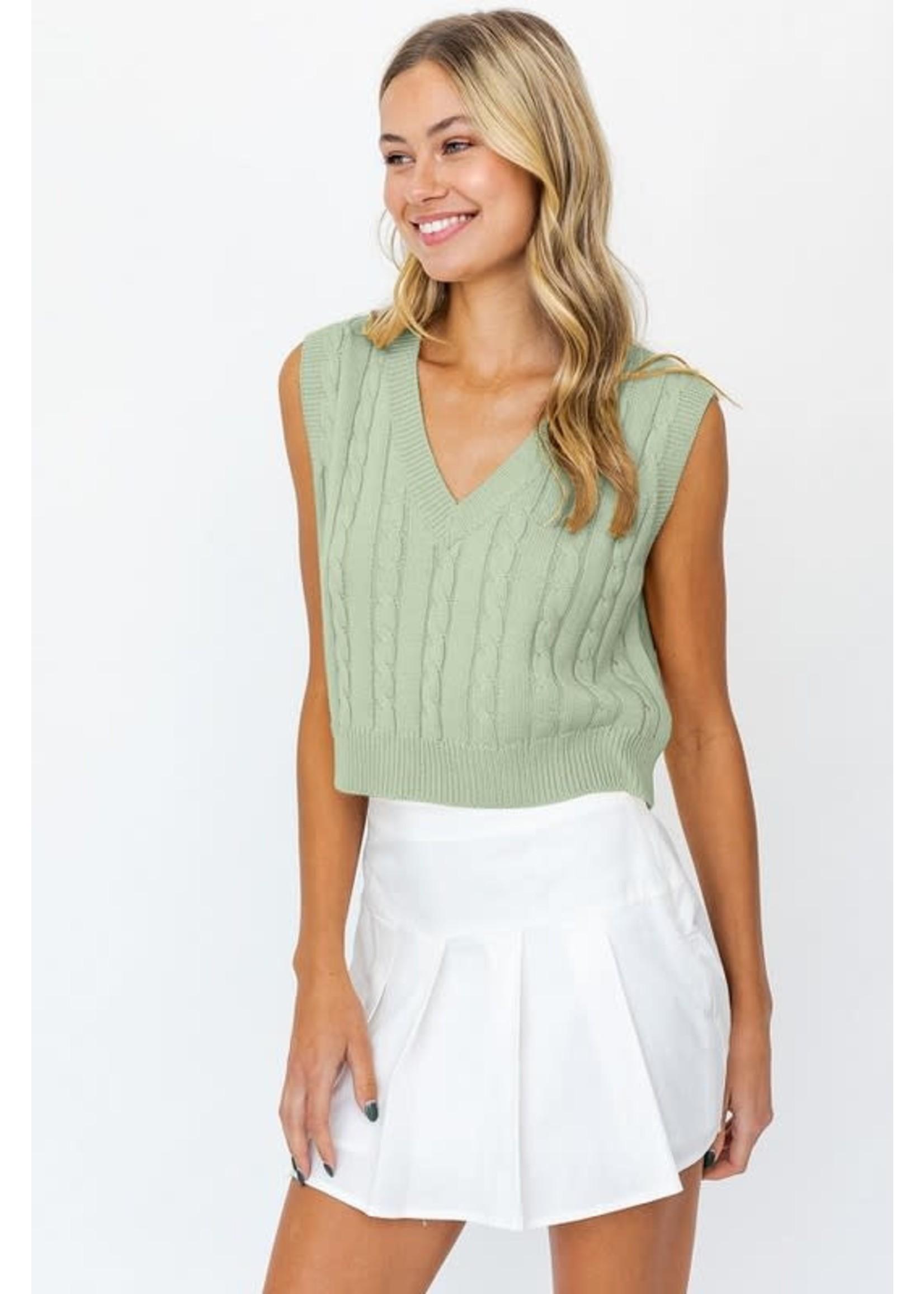Le Lis V-Neck Cable Knit Sweater Vest - SWT6496