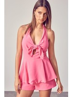 DO + BE Halter Neck Front Bow Romper - Y20305