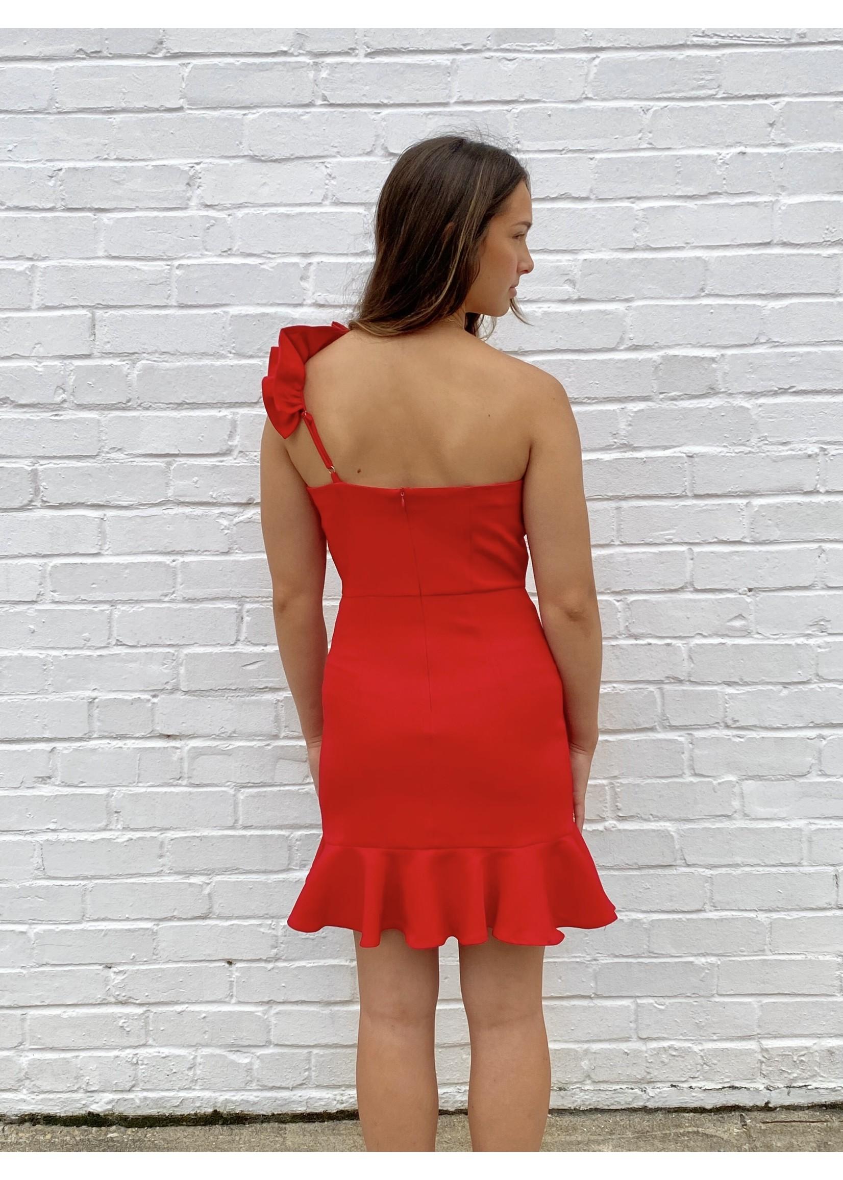 Pretty Follies One Shoulder Ruffled Dress - CD01911