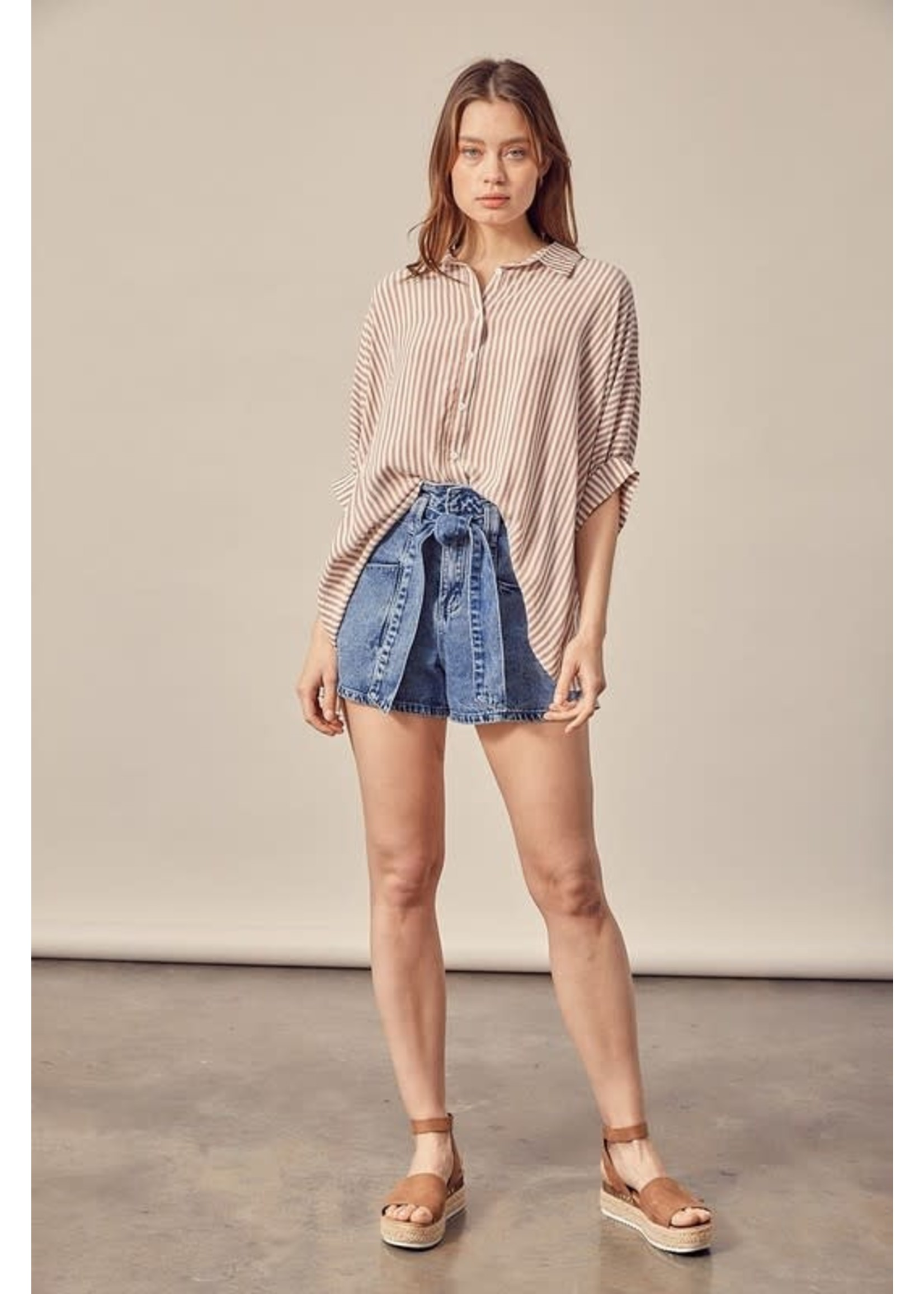Mustard Seed Short Sleeved Button Up Blouse - S17425