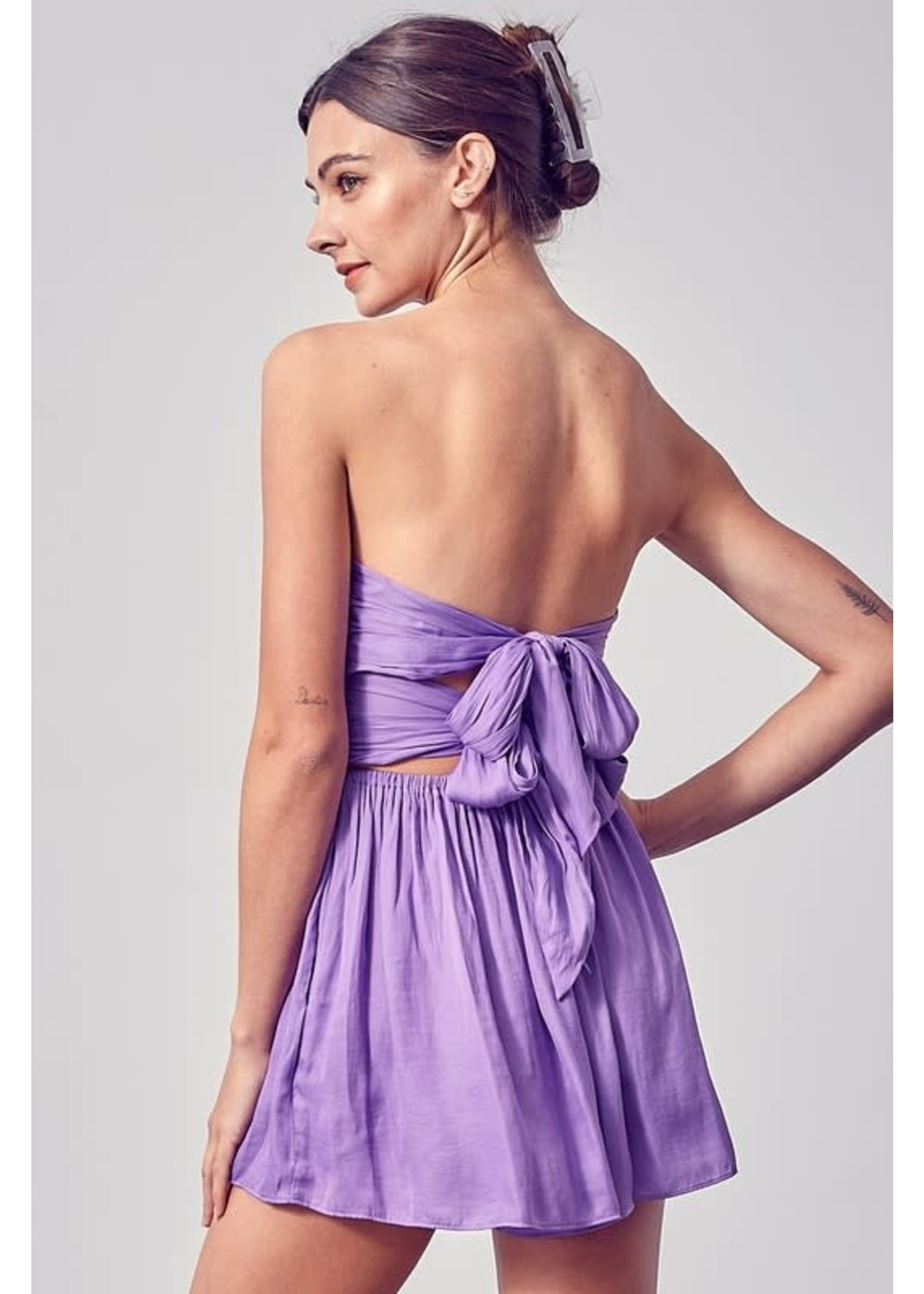 DO + BE Strapless Ruched Romper - Y20079