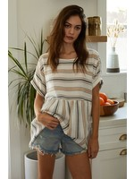By Together Striped Short Sleeved Tunic - L4971