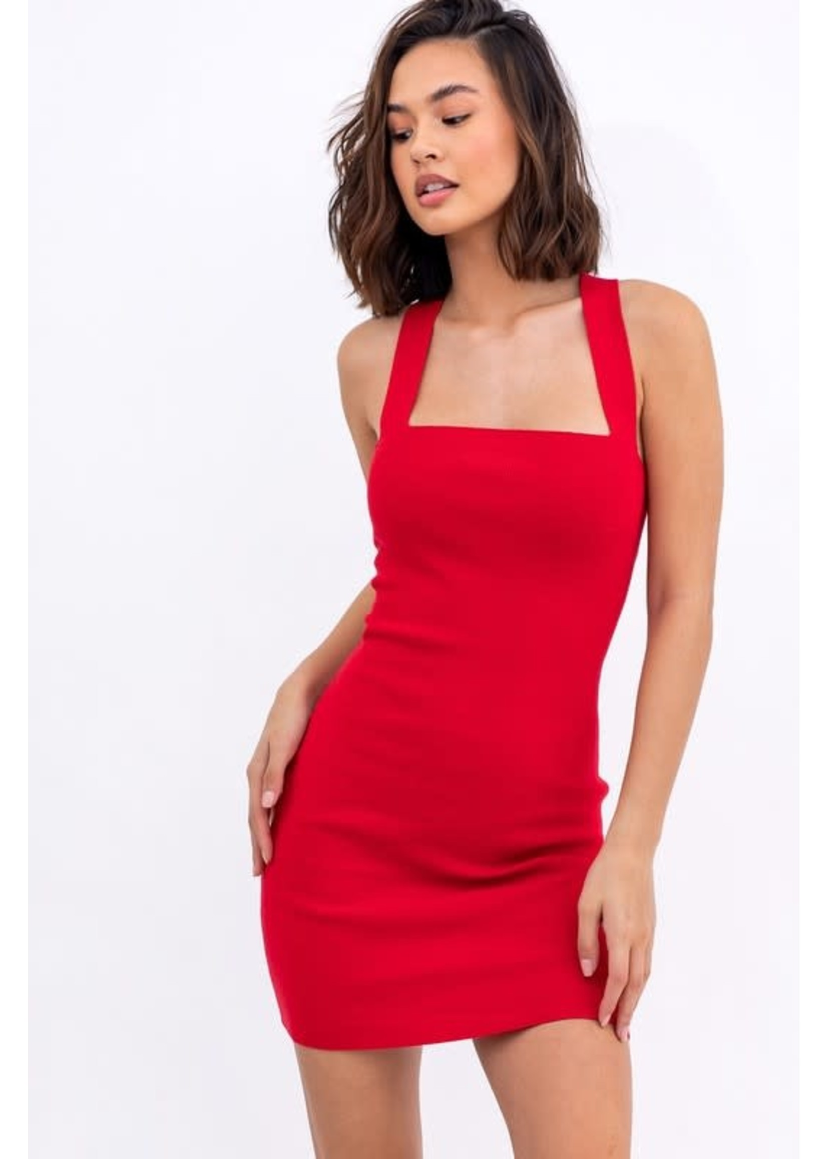 Le Lis Ribbed Knit Dress with Criss-Cross Back - MWD3642