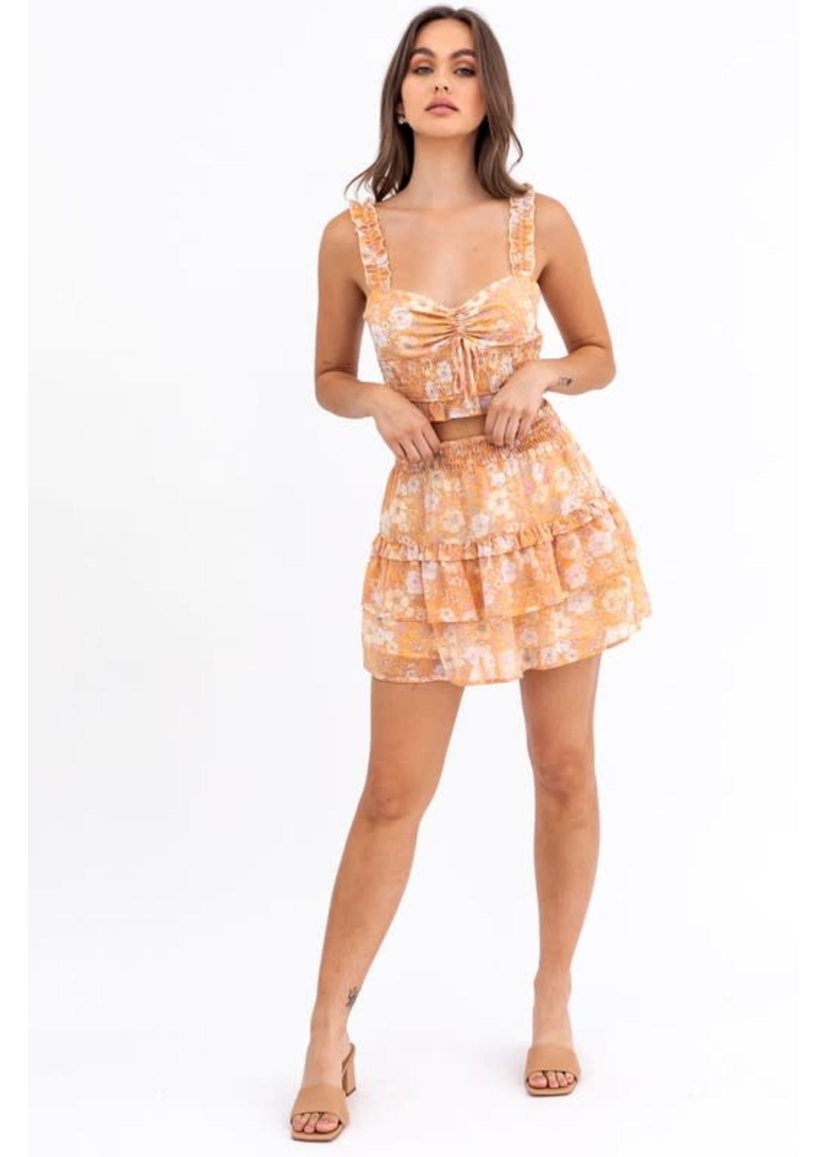 Le Lis Floral Print Ruffled Strappy Top - UT8181