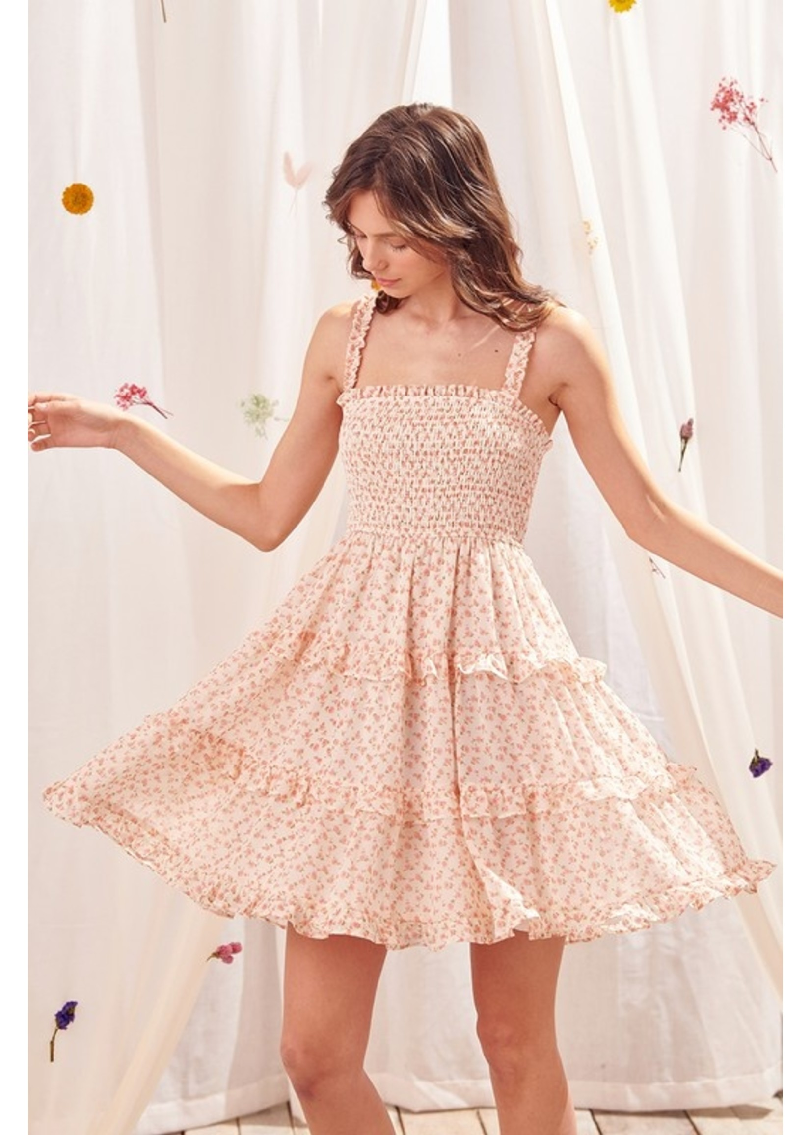 Storia Floral Smocked Mini Dress - JD3173