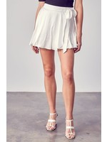 DO + BE Ruffled Satiny Skort with Tieable Bow - Y20538