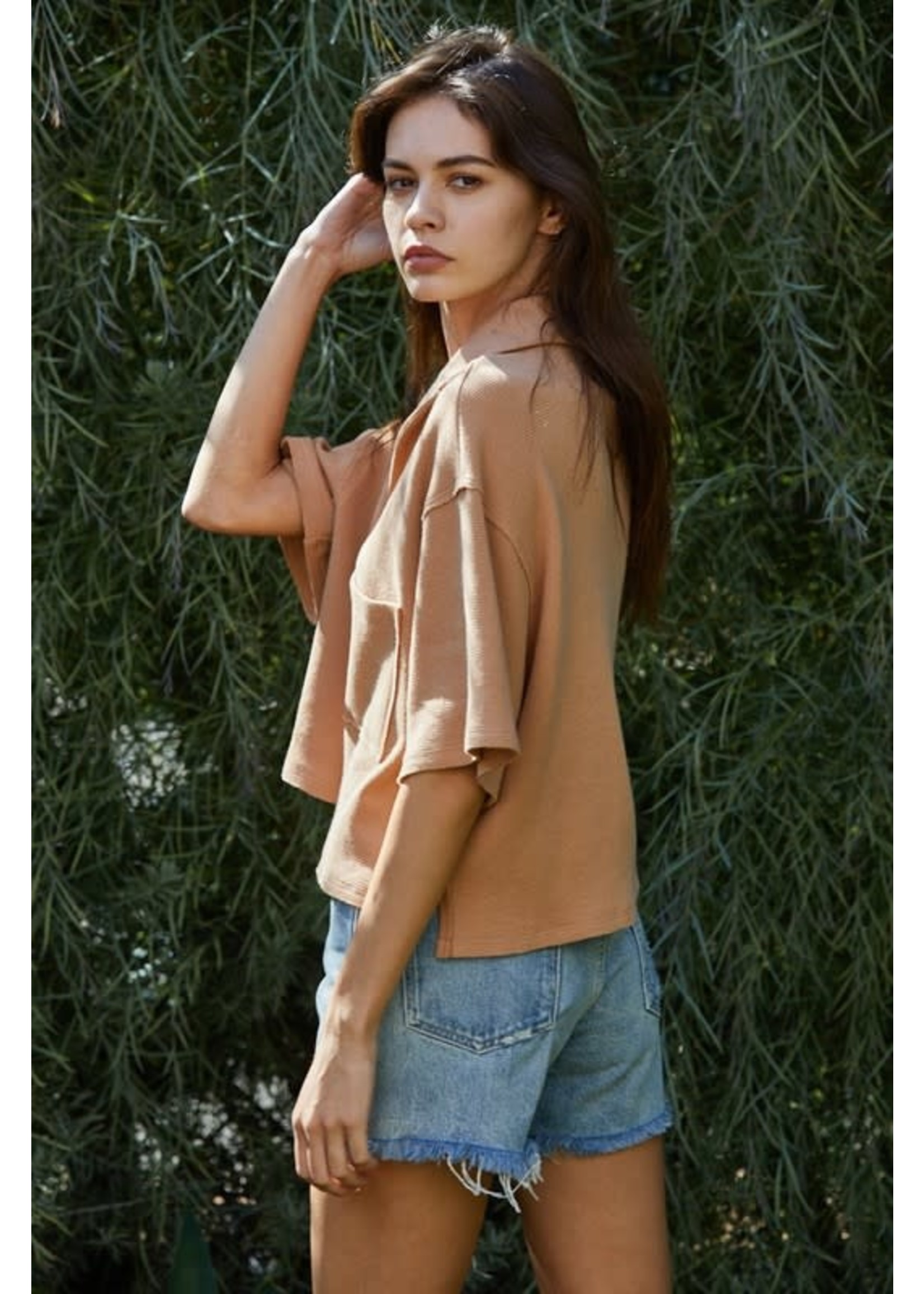 By Together Knit Hacci Oversized Collared Crop Top - RJ2338