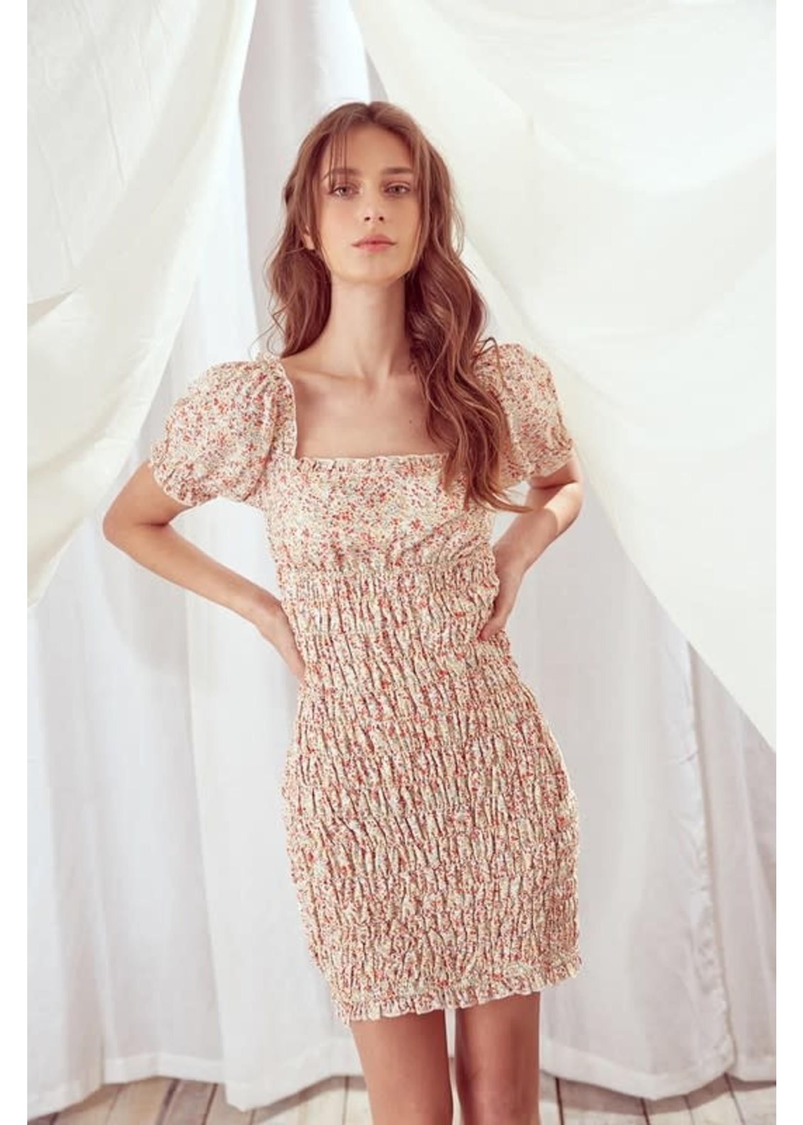 Storia Floral Smocked Mini Dress - BD2174
