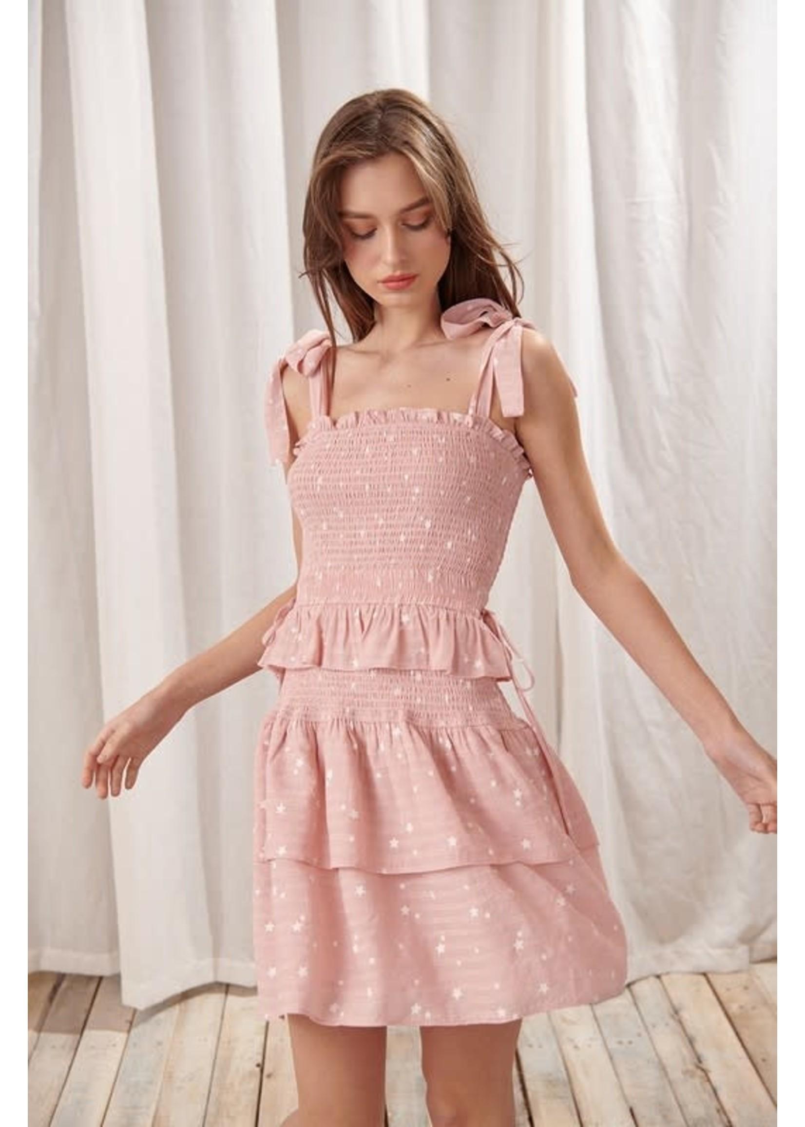 Storia Star Print Strappy Mini Dress - JD3194