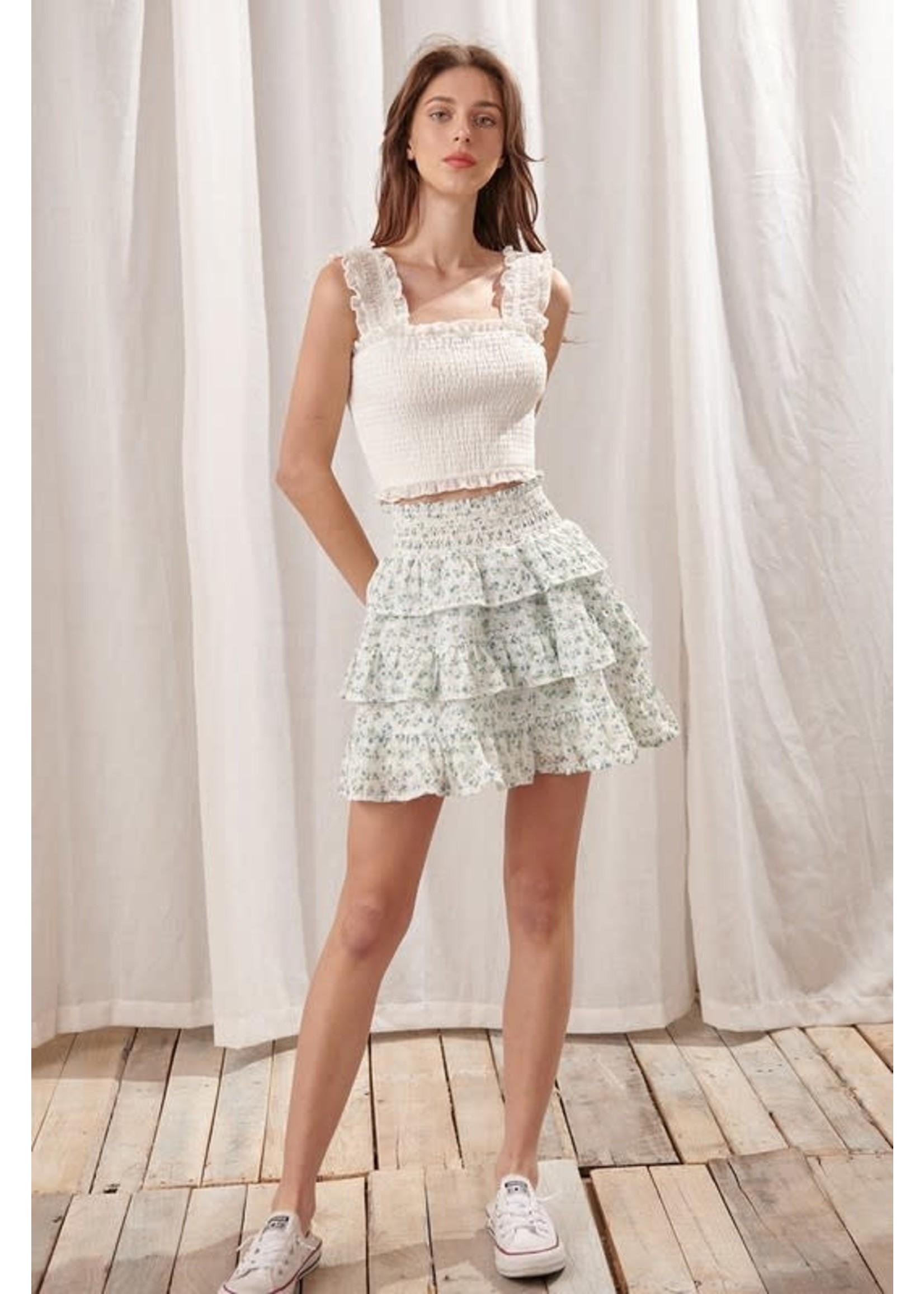 Storia Floral Eyelet Mini Skirt - SS2683