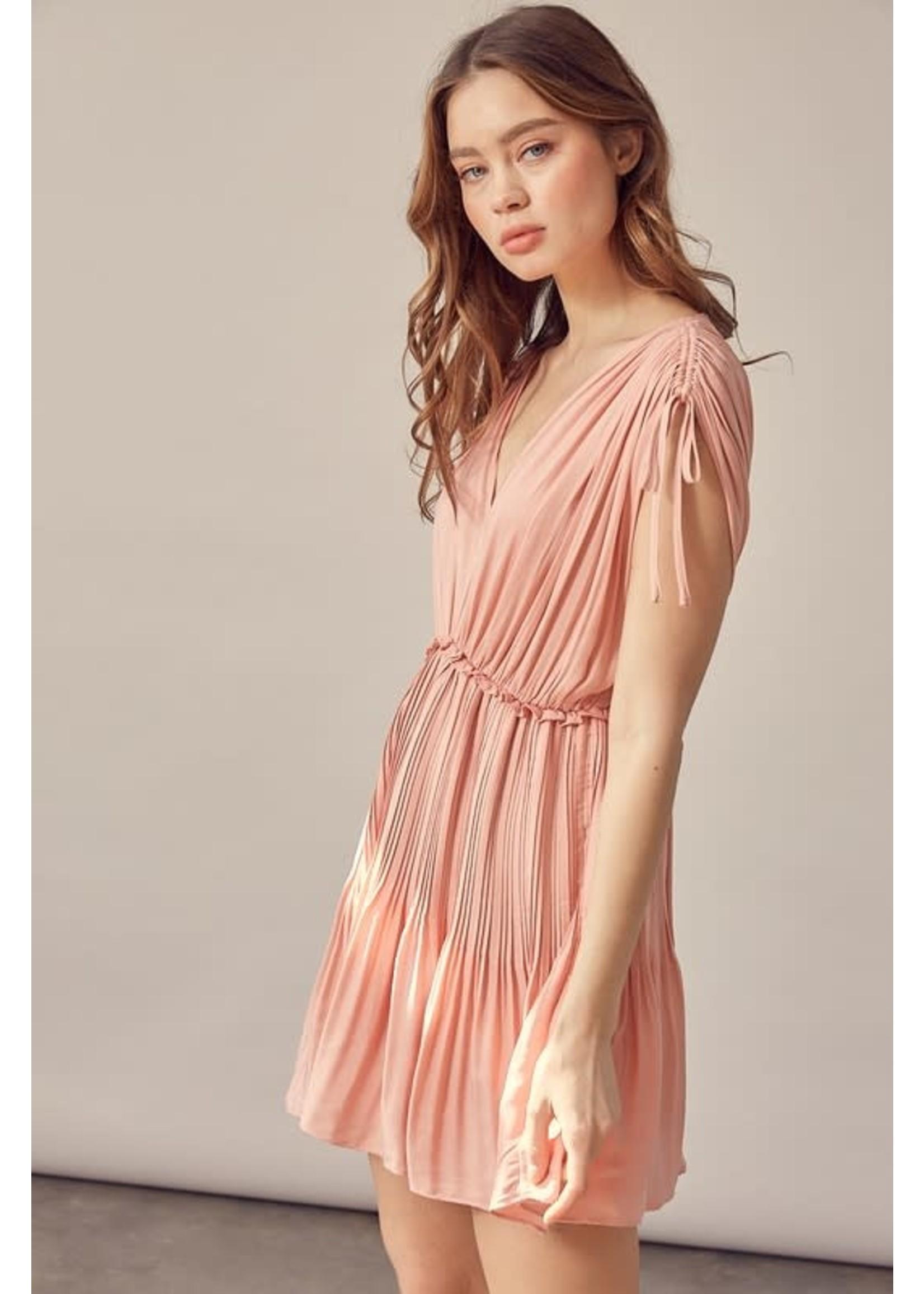 Mustard Seed Back Tying Pleated Mini Dress - S16987