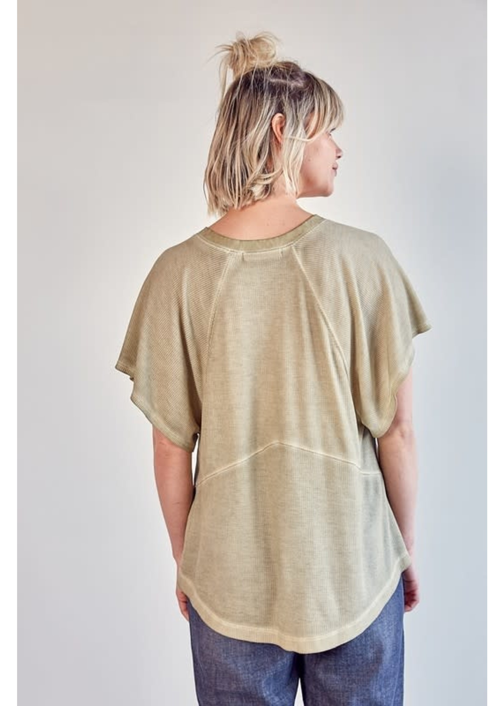 Mustard Seed Cold Shoulder Waffle Texture Top - S18328