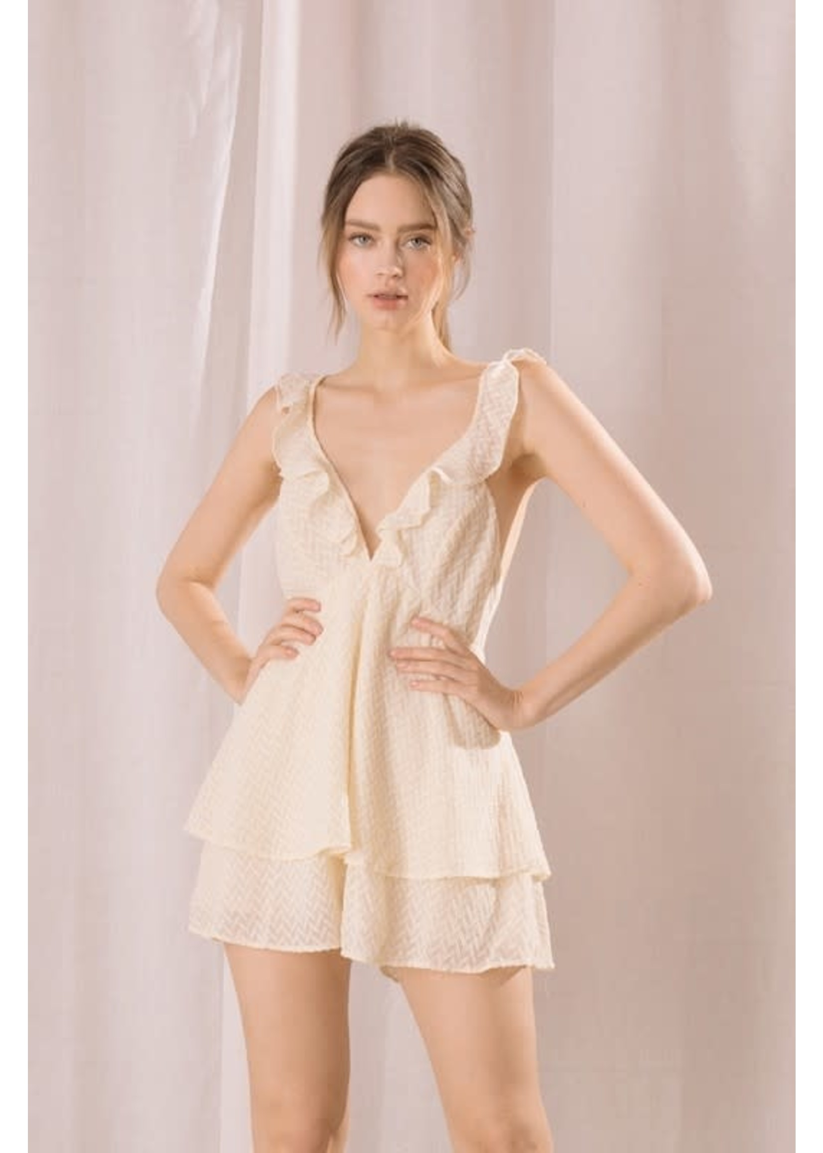 Storia Textured Embroidered Romper - BR2179
