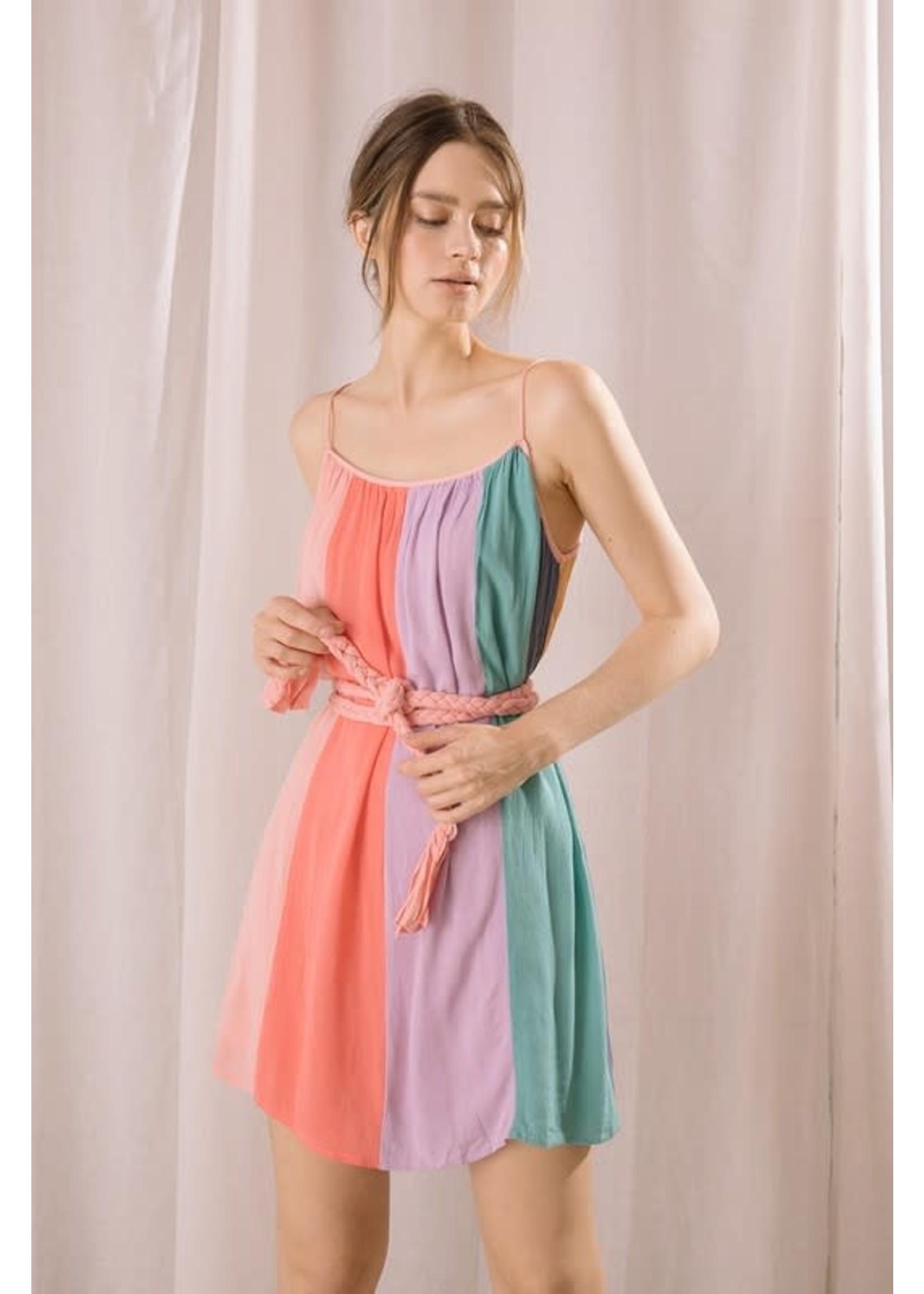 Storia Bright Color Block Mini Dress - JD2009EF