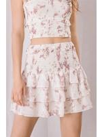 Storia Splatter Print Smocked Mini Skirt - JS2937