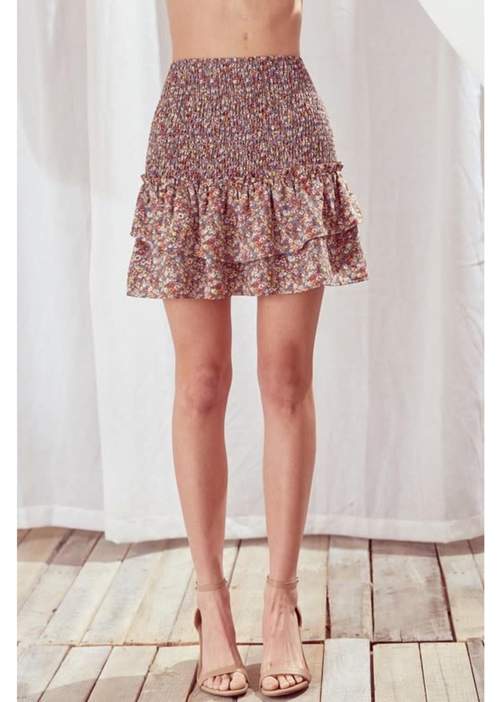 Storia Ditsy Floral Smocked Mini Skirt - BS2176