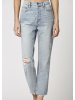 Hidden Distressed High Waisted Cropped Straight Leg Jeans - HD1200ST