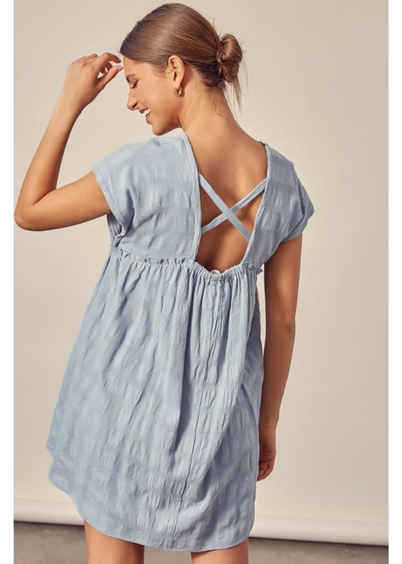 Mustard Seed Button Down Textured Dress - S17876