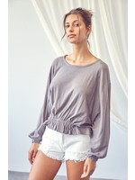 Mustard Seed Shirred Detailed Crewneck Top - S18789